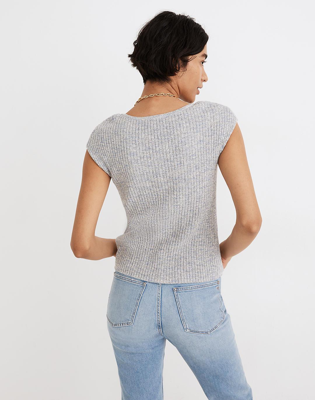 Marled Shaw Button-Front Sweater Tee 2