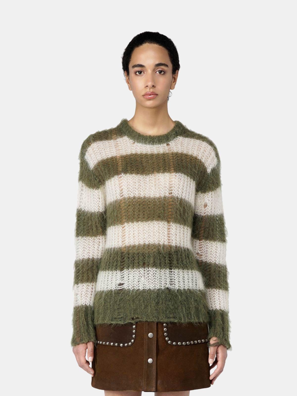 Green and white striped Antonica pullover in mohair wool