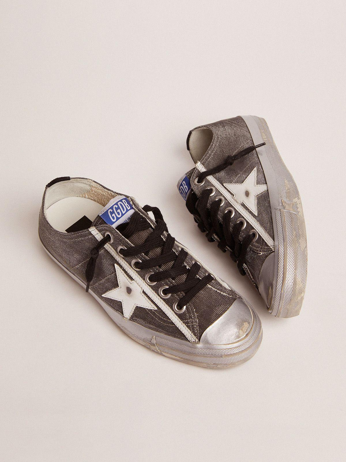 Dark gray V-Star LTD sneakers with checkered pattern and white star 1