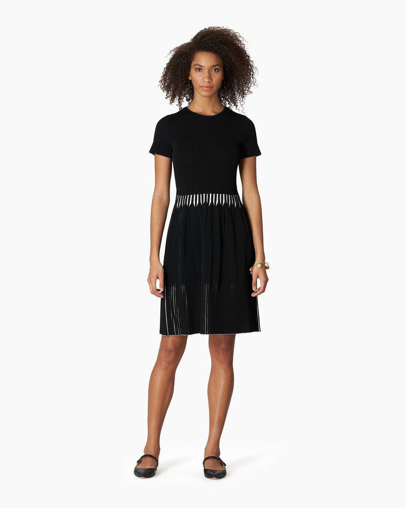 Short Sleeve Bi-color Rib Fit And Flare Knit Dress
