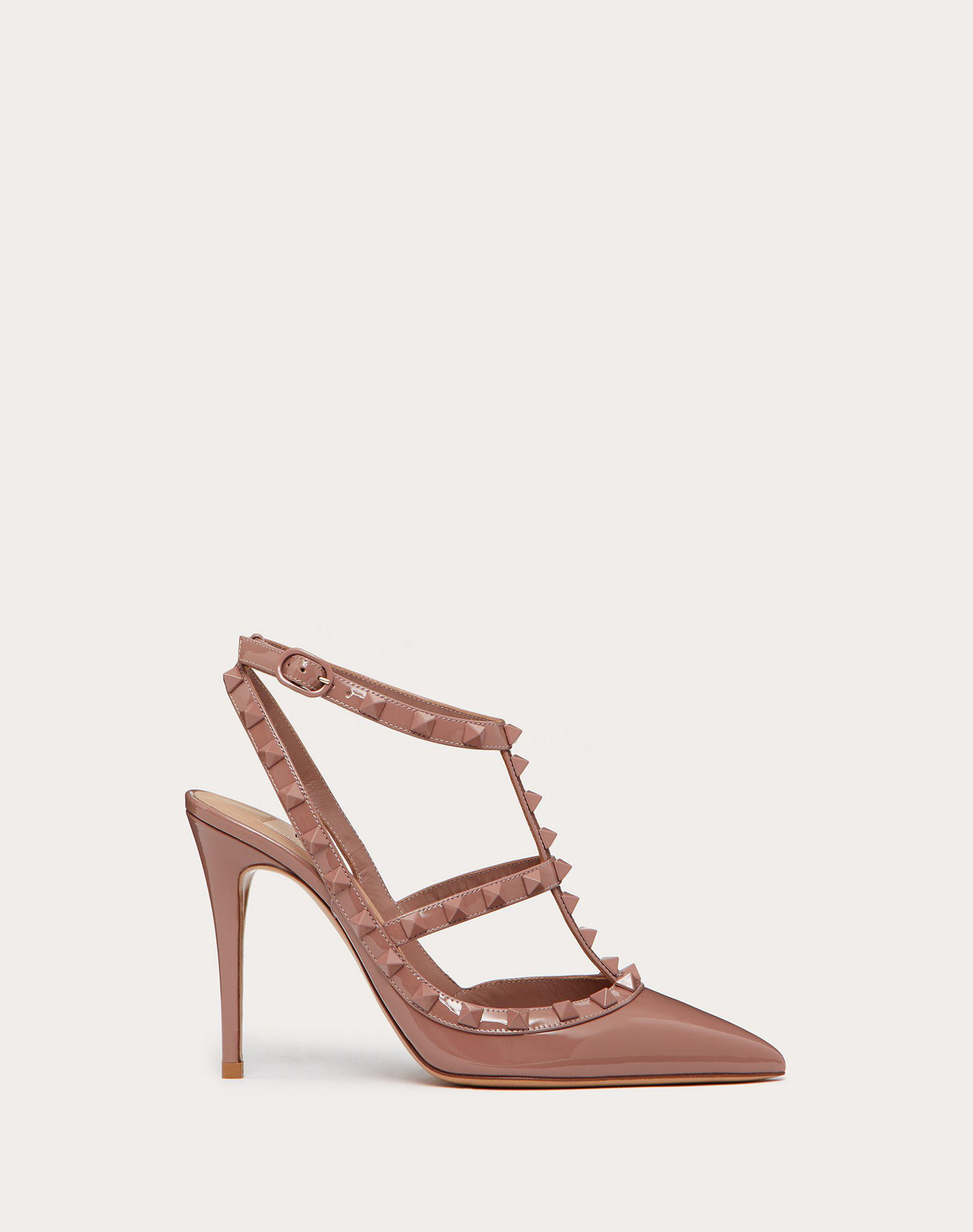 ROCKSTUD ANKLE STRAP PATENT-LEATHER PUMP WITH TONAL STUDS 100 MM 0
