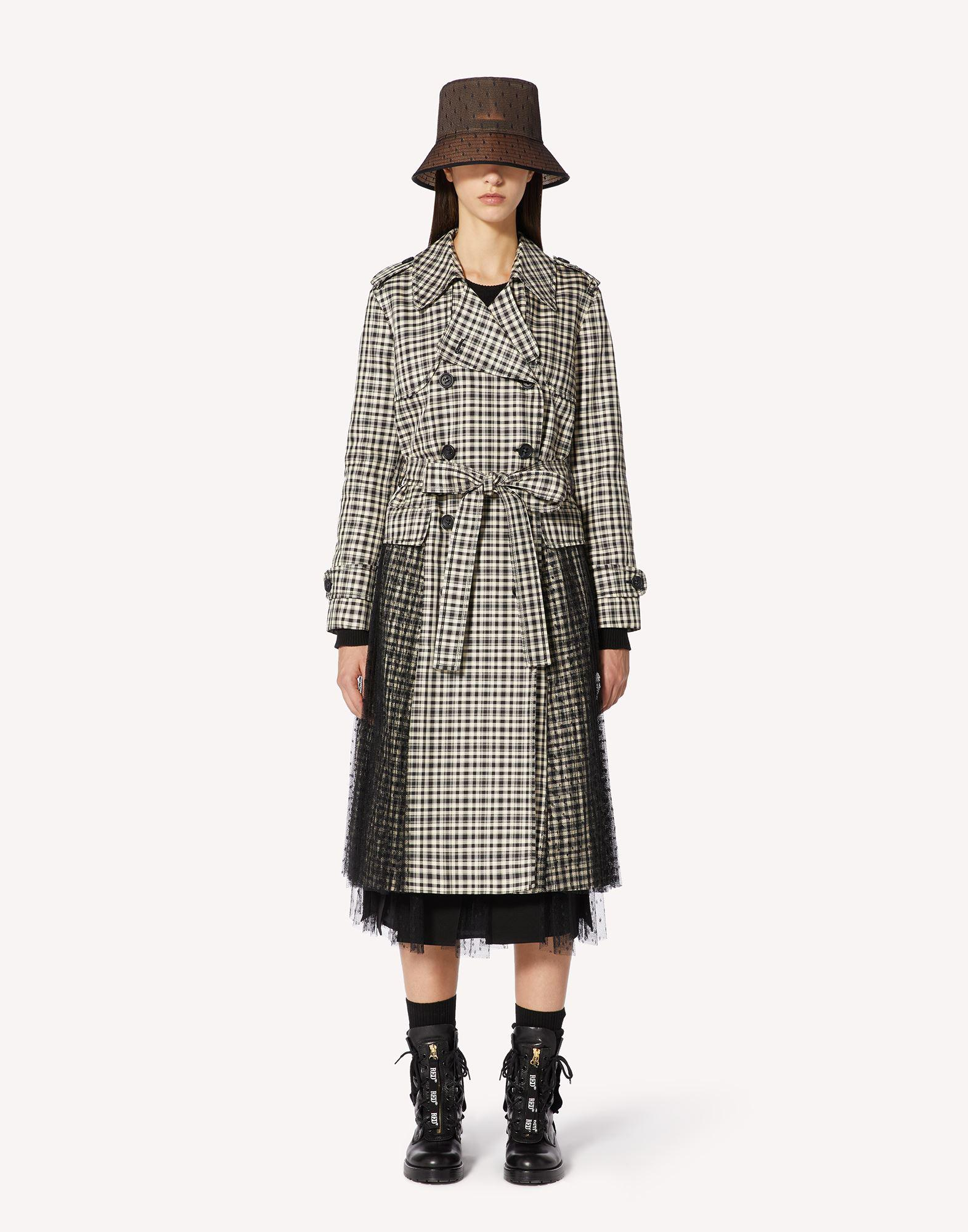 VICHY CHECK TRENCH COAT WITH PLEATING DETAIL