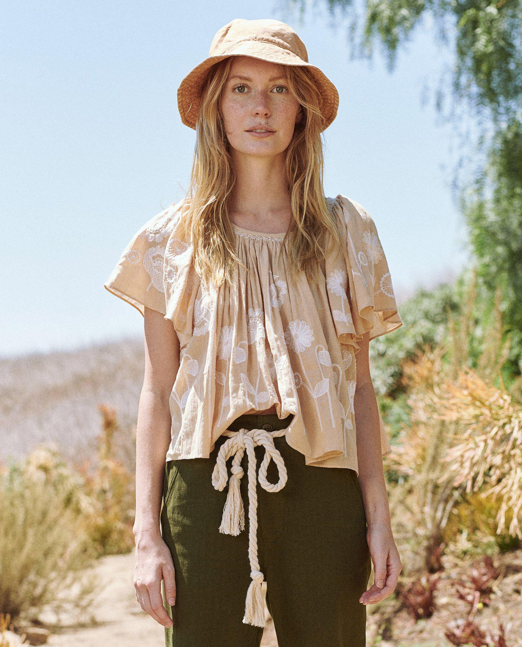 The Dale Top. -- Wheat with Trellis Floral Embroidery 1