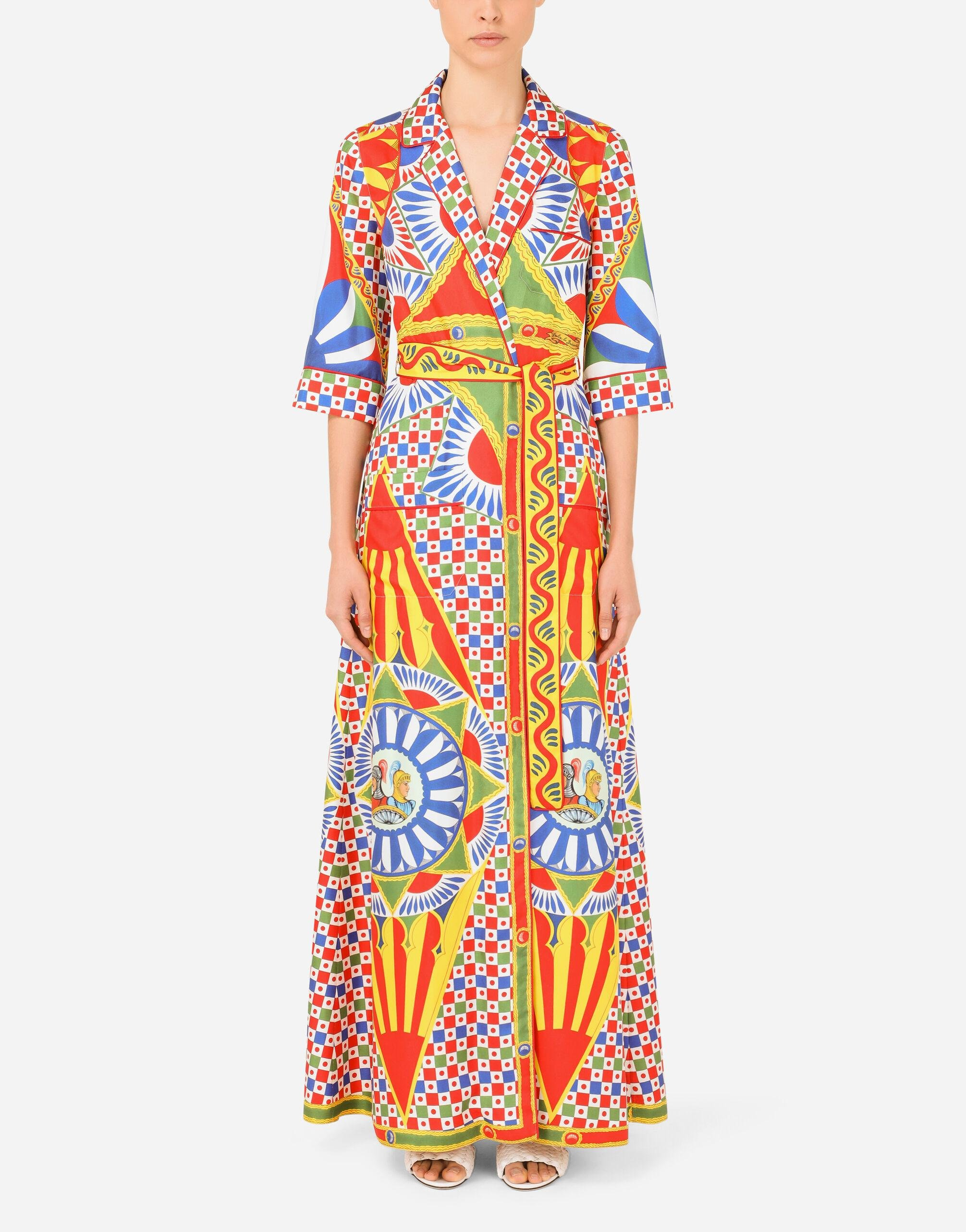 Long Carretto-print twill robe with belt