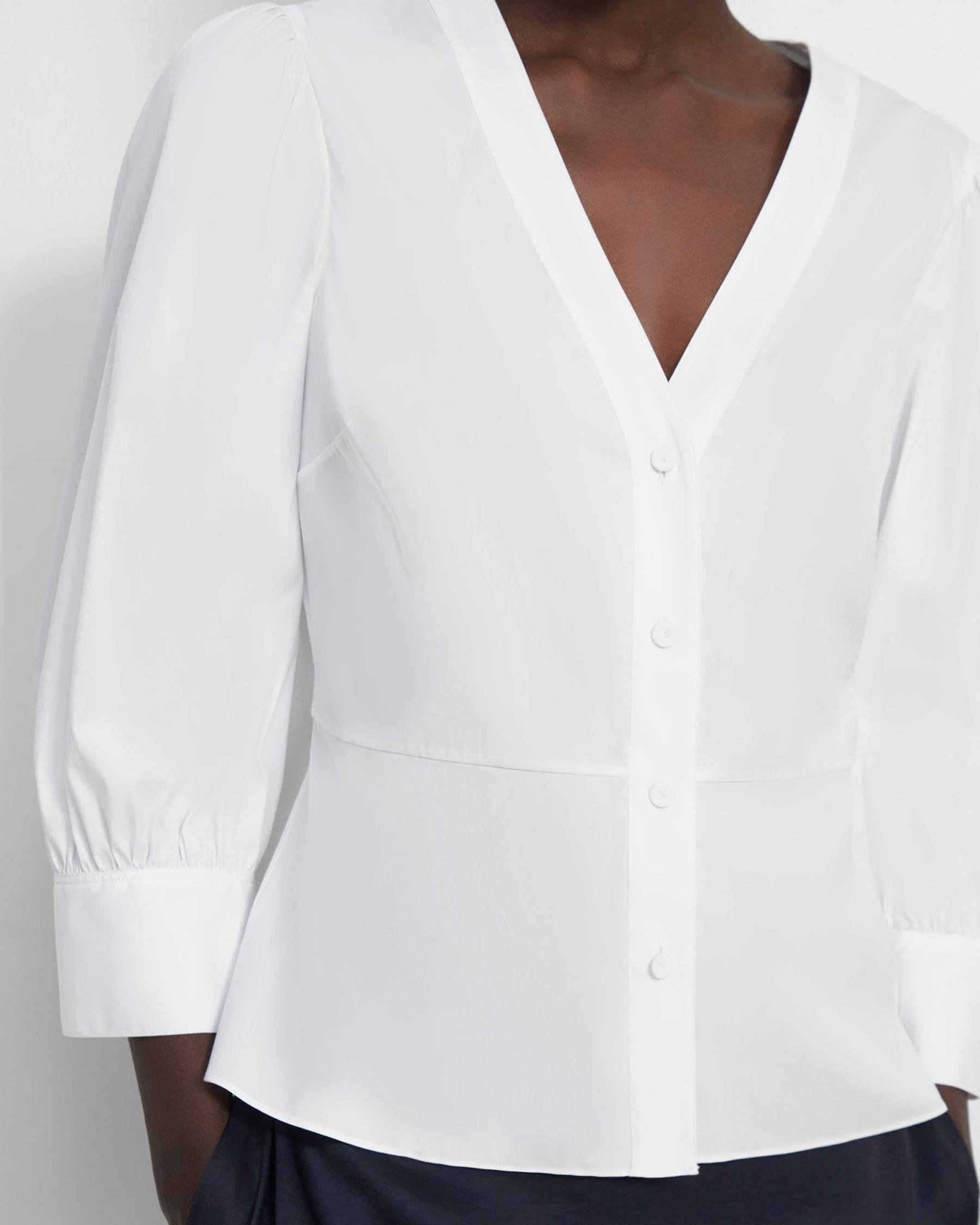 Gathered-Sleeve Top in Good Cotton 2