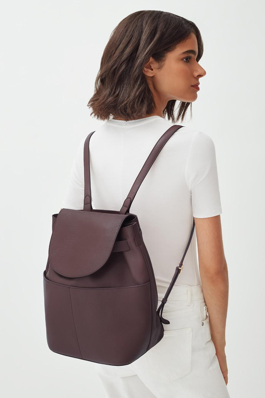 Women's Leather Backpack in Burgundy   Pebbled Leather by Cuyana 6