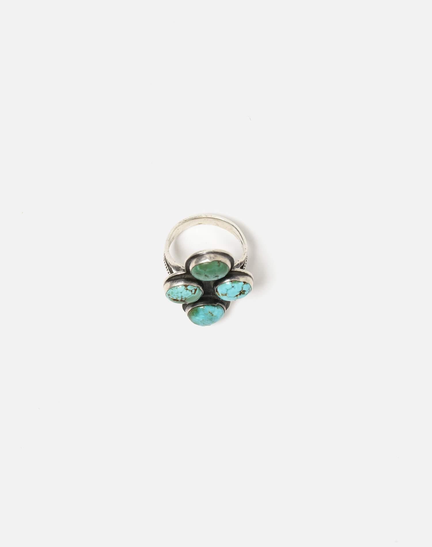 1930s Navajo Spilt Shank Sterling And Turquoise Stone Ring - #94 3