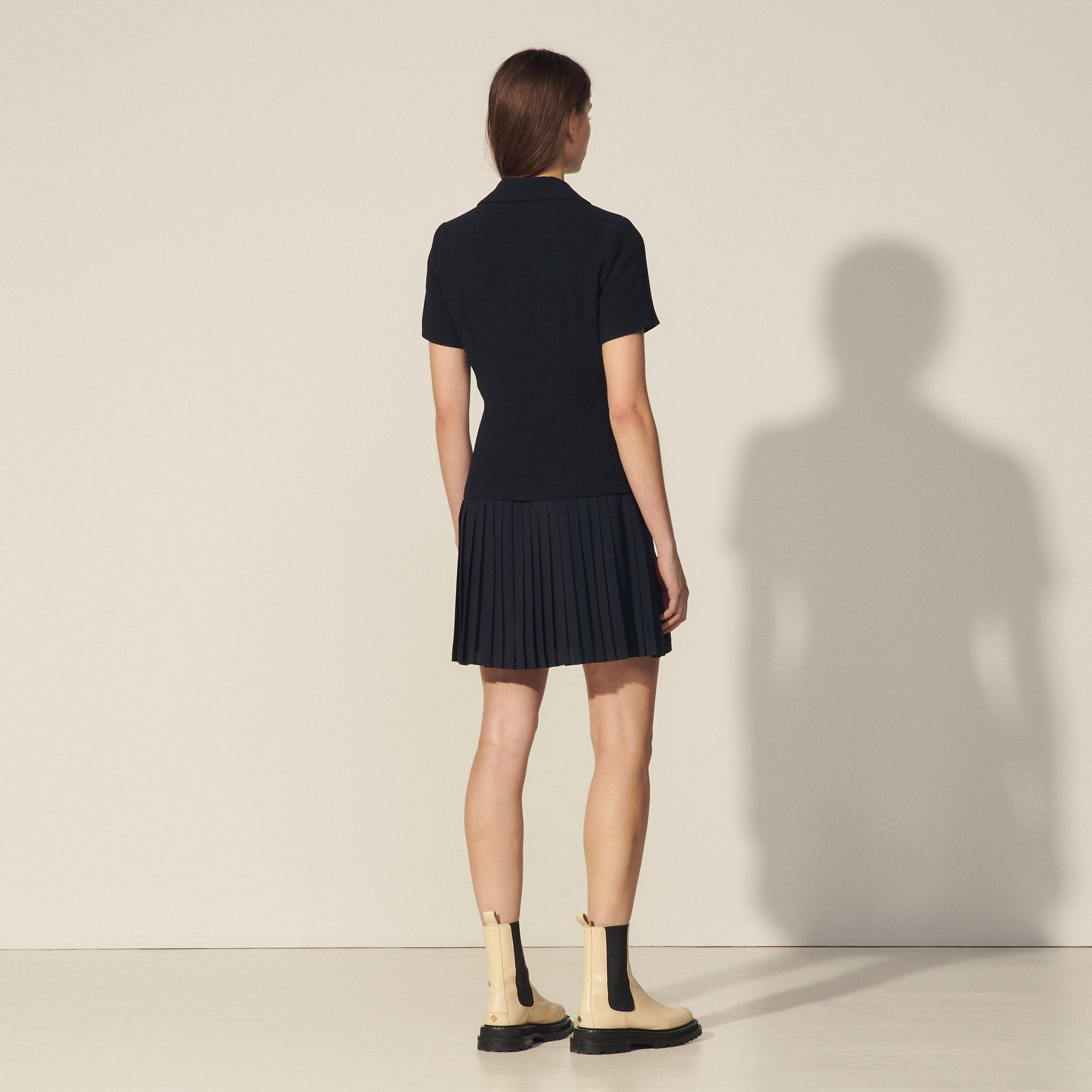 Mixed material pleated dress 1
