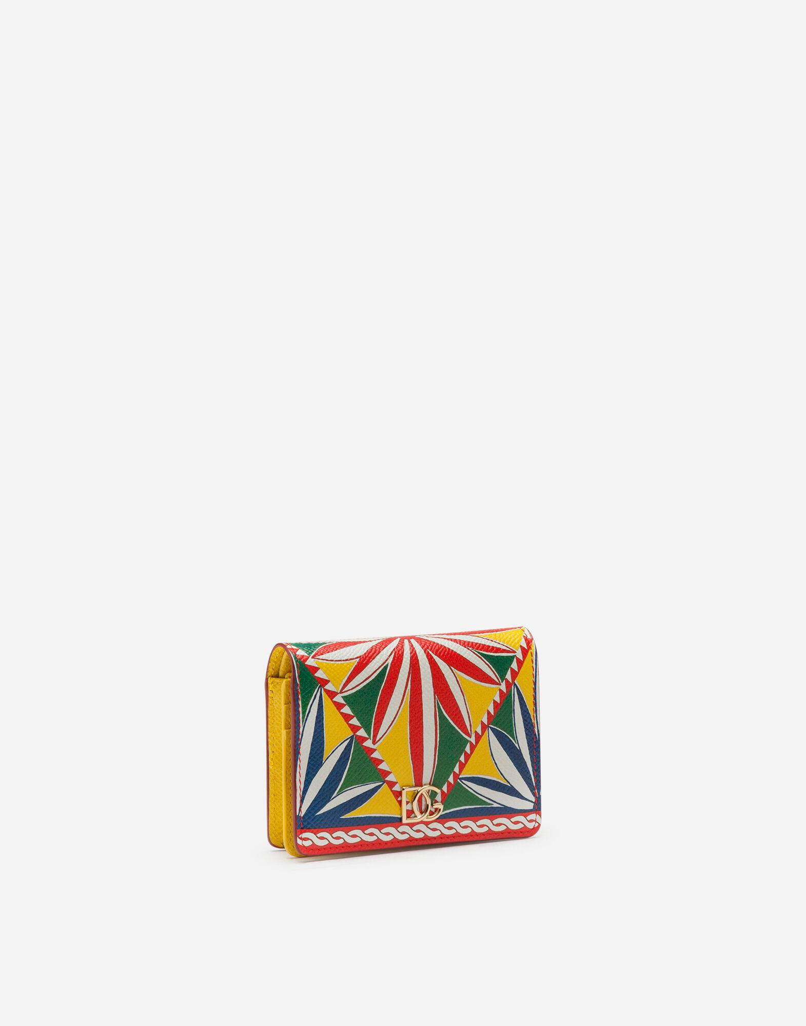 Small continental wallet in carretto-print dauphine calfskin 1
