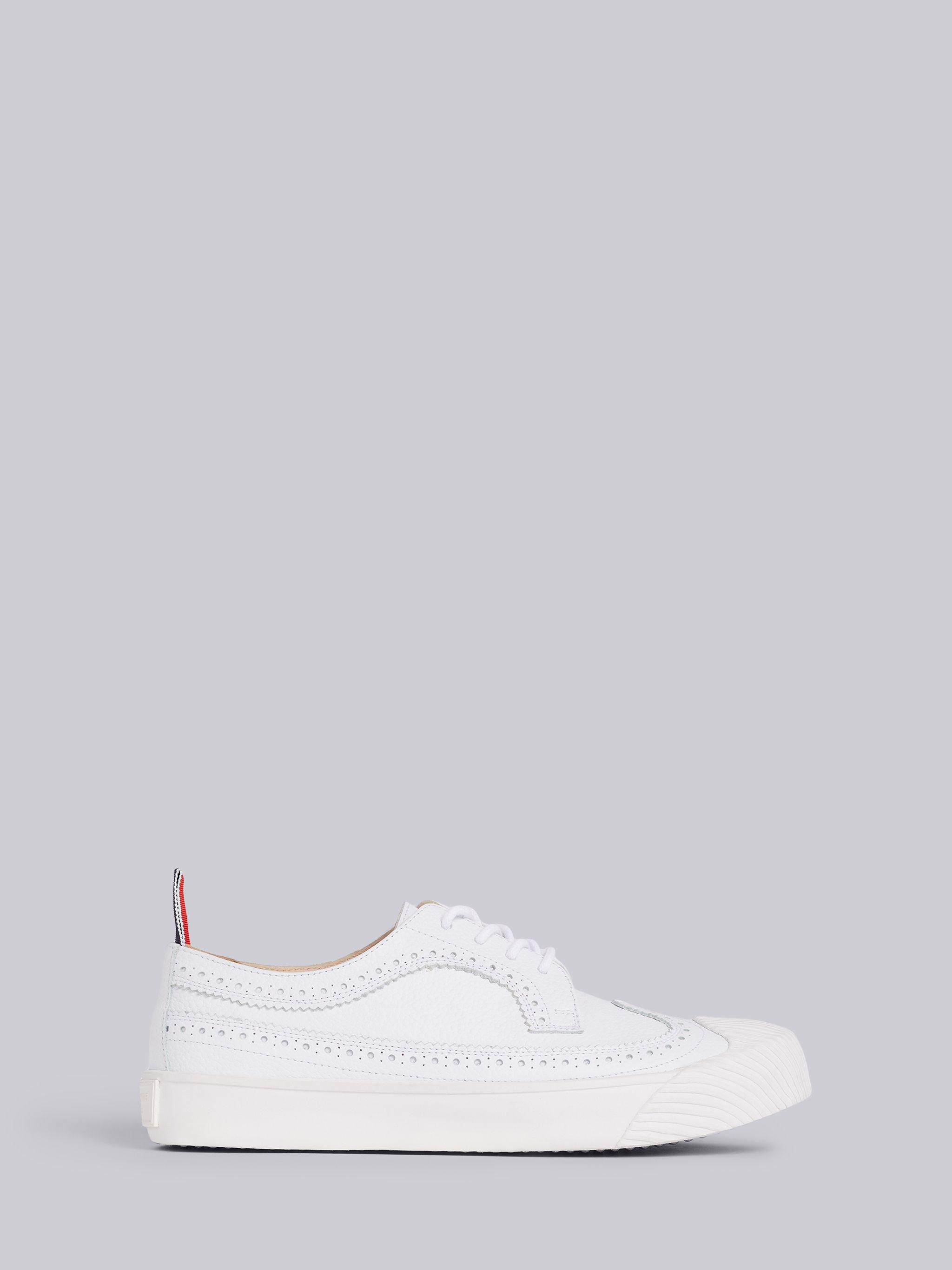 White Pebbled Calfskin Longwing Brogue Trainer