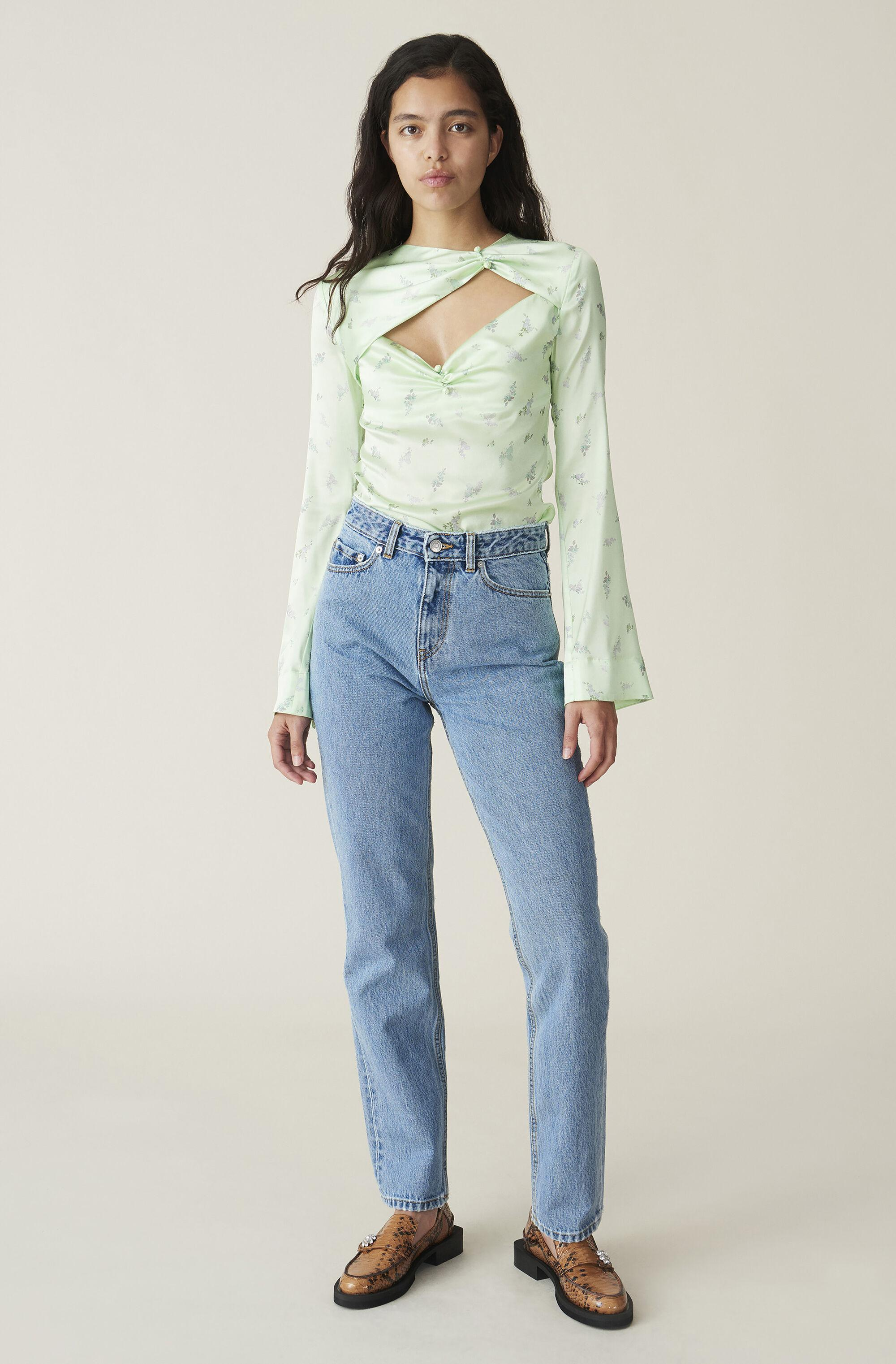 Washed Denim High-waisted Jeans