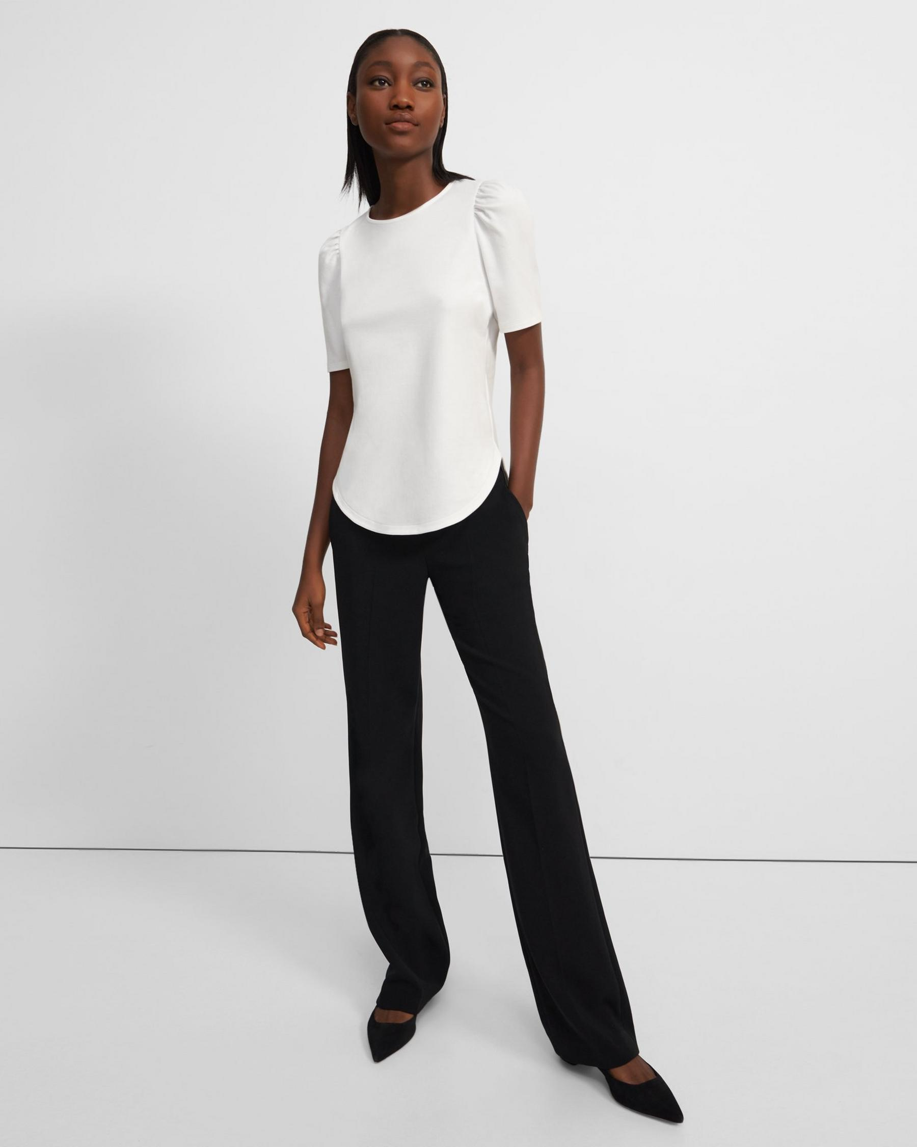 Short-Sleeve Ruched Tee in Cotton Jersey 3