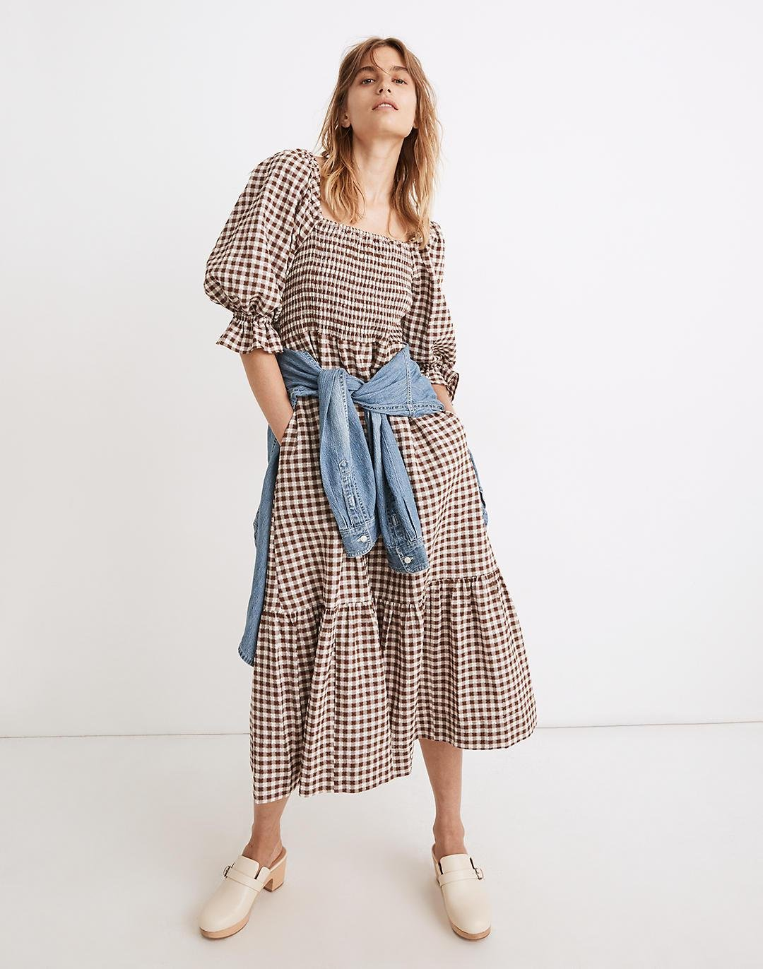 Lucie Elbow-Sleeve Smocked Midi Dress in Gingham