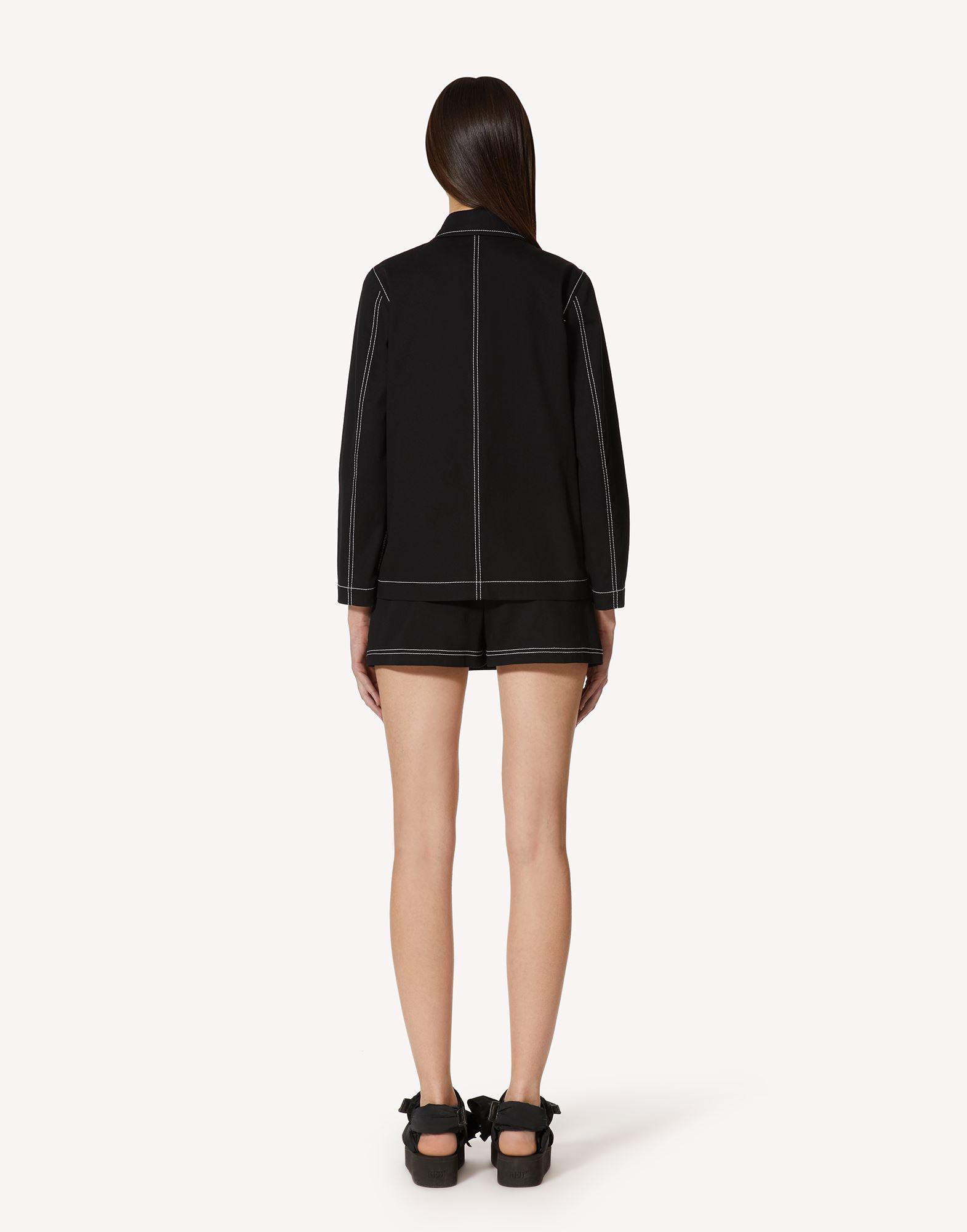 STRETCH GABARDINE SHORTS WITH CONTRASTING STITCHING DETAIL 1