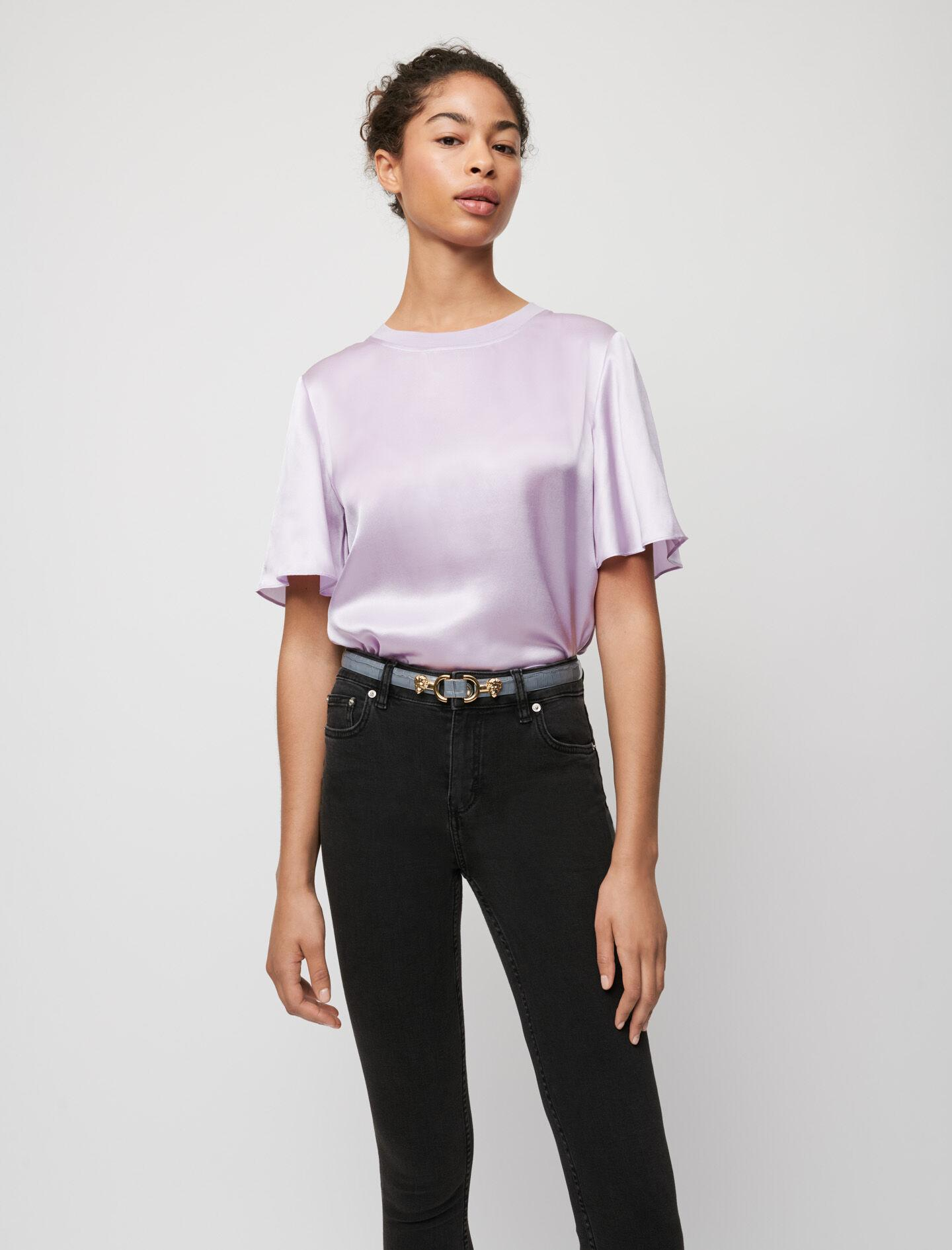 MIXED MATERIAL SILK AND COTTON T-SHIRT
