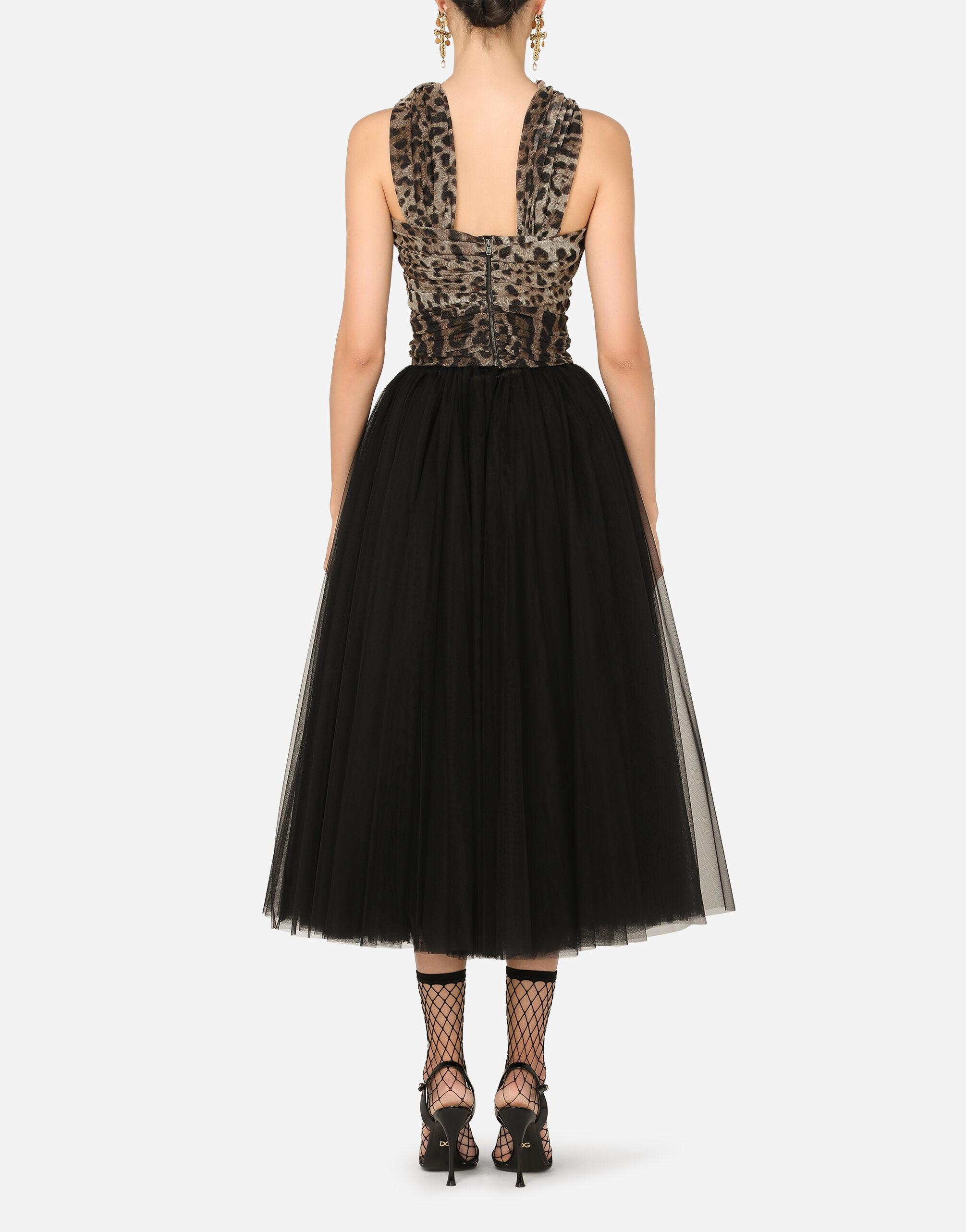 Calf-length dress in leopard-print and solid-colour tulle 1
