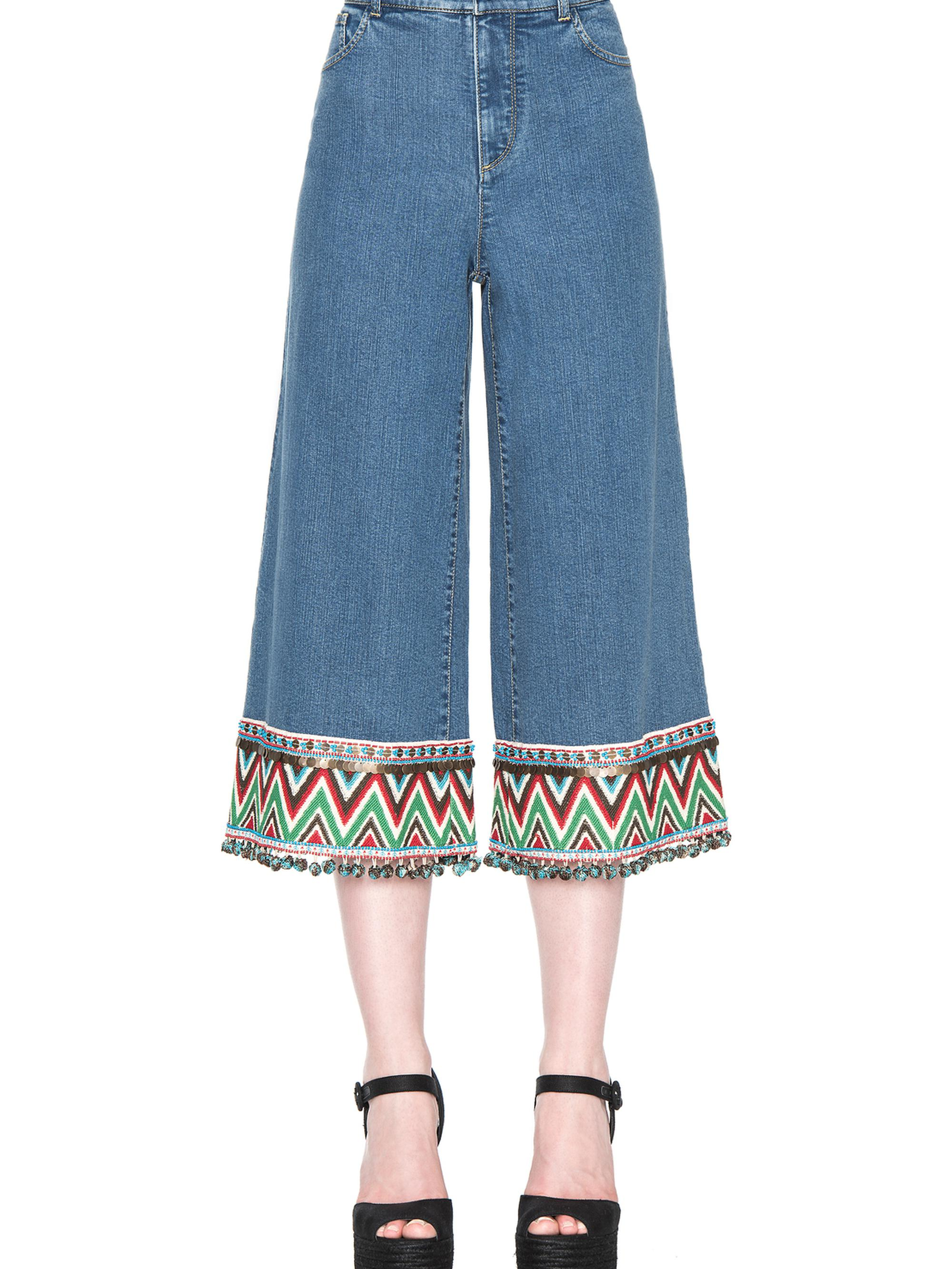 BETA EMBROIDERED HEM CROPPED JEAN