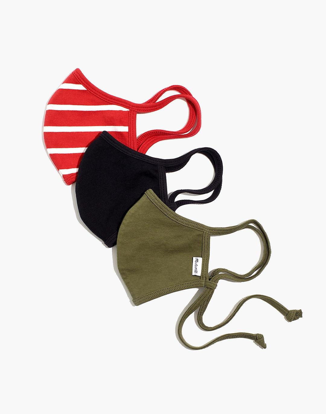 Three-Pack Assorted Knit Adjustable Face Masks