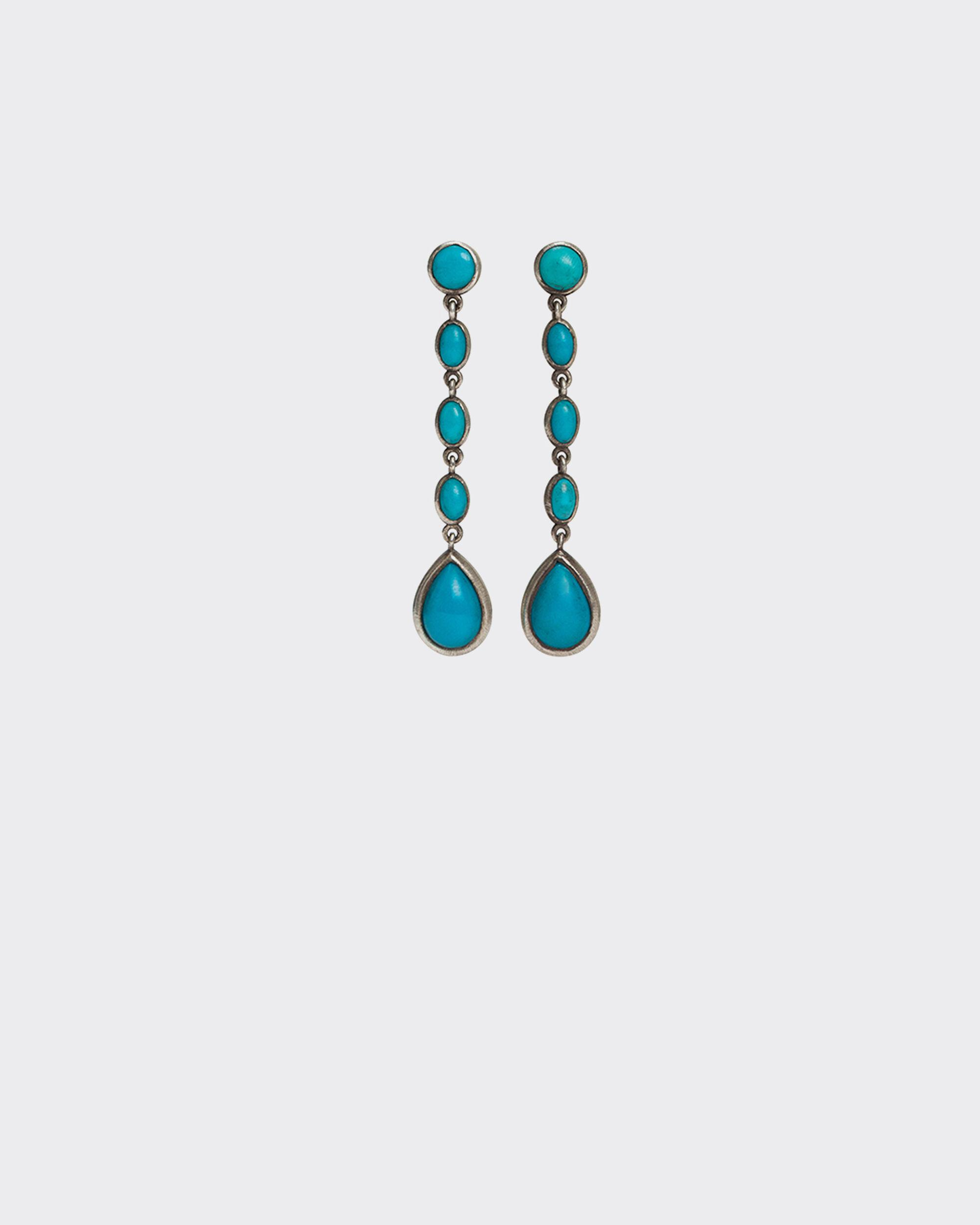 URTITE SILVER AND TURQUOISE BEAD EARRINGS