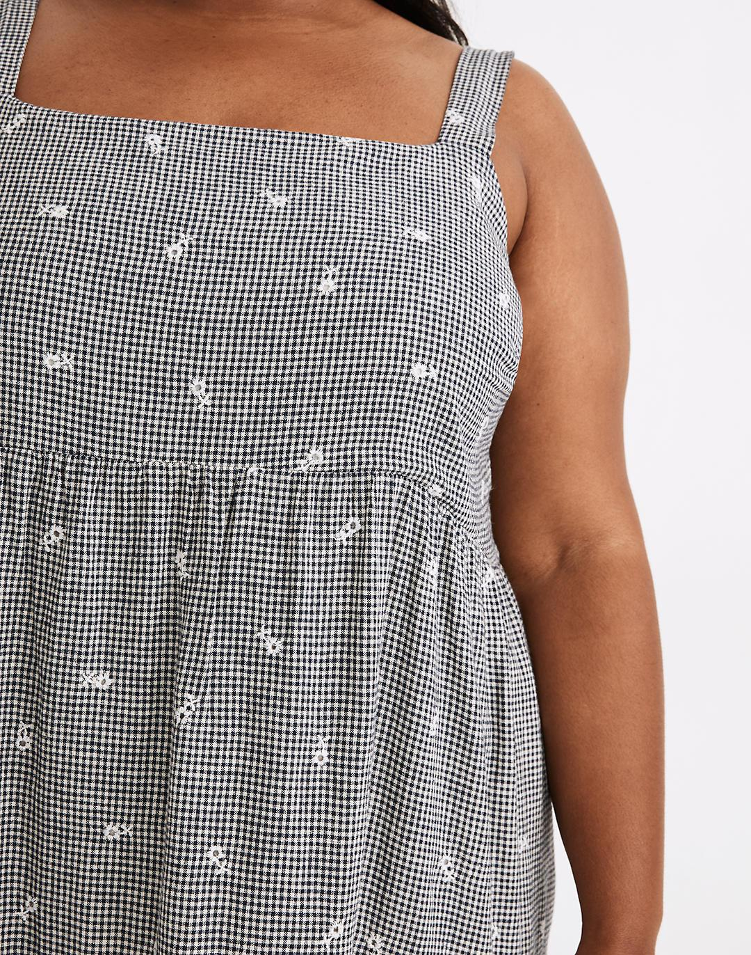 Plus Embroidered Tiered Midi Dress in Gingham Check 3