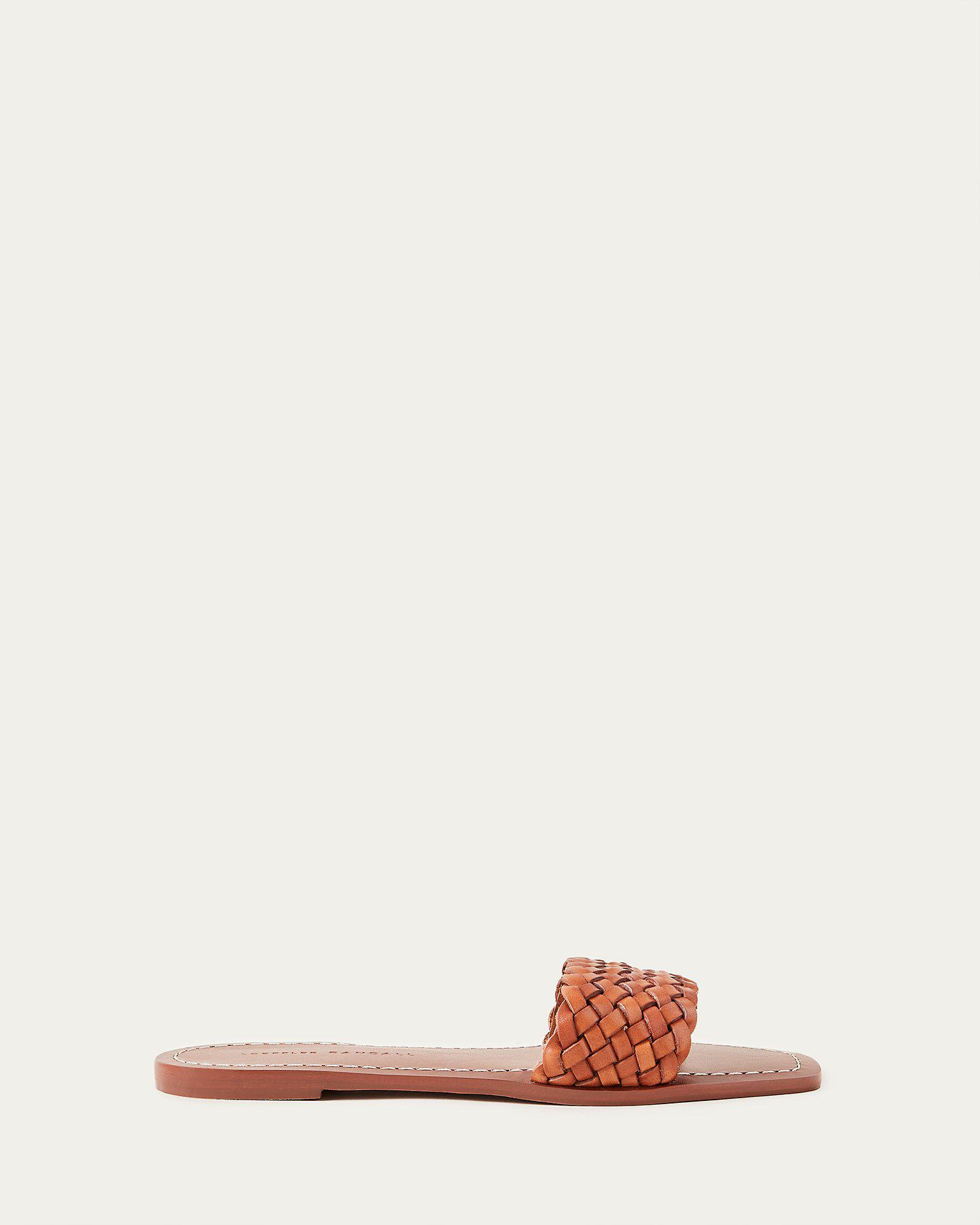 Joey Woven Leather Slide Timber 1