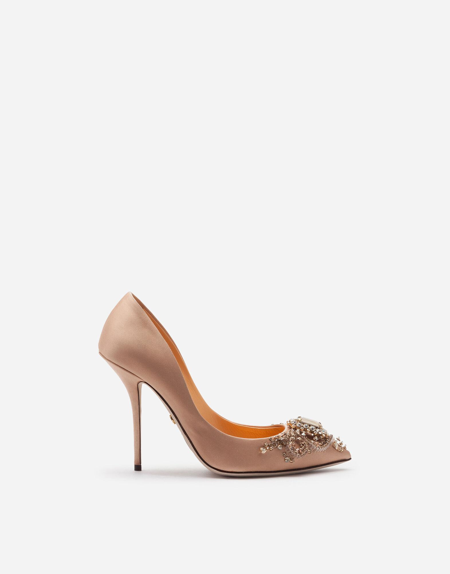 Satin pumps with bejeweled embellishment