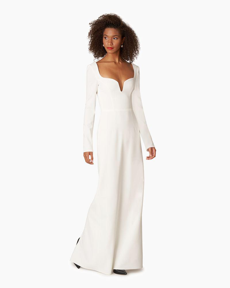 Stretch Crepe Column Gown