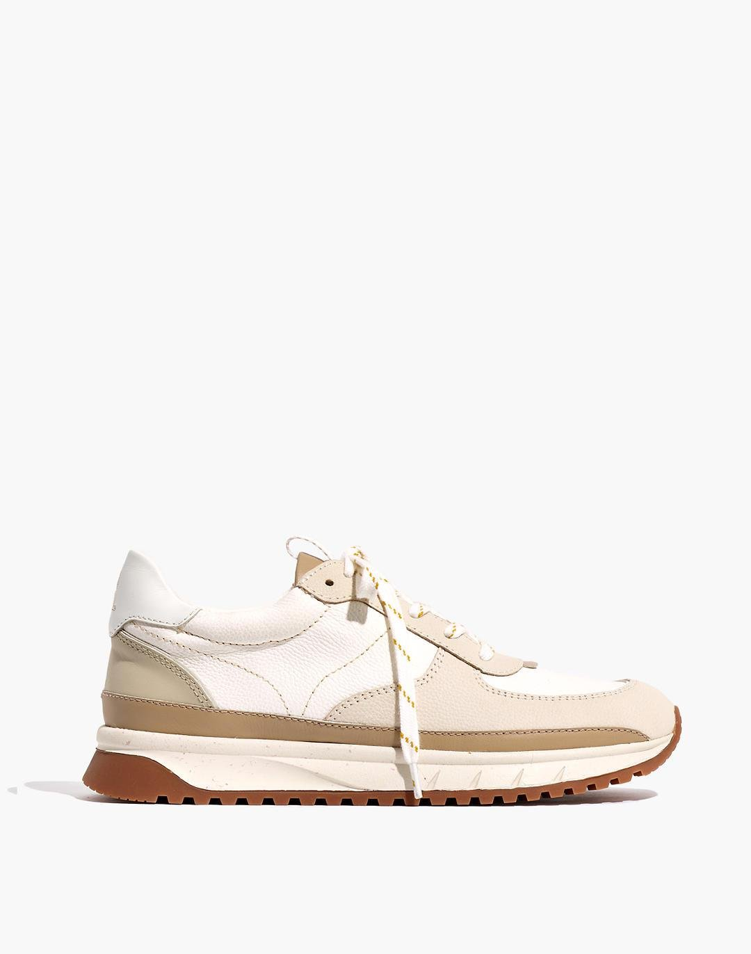 Kickoff Trainer Sneakers in Neutral Colorblock Leather 1