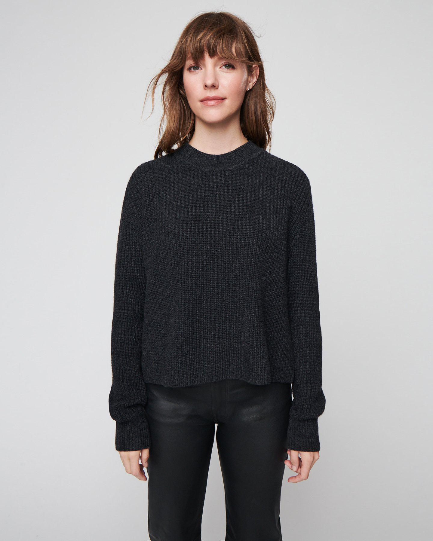Women's Cashmere Ribbed Mock Neck in Charcoal