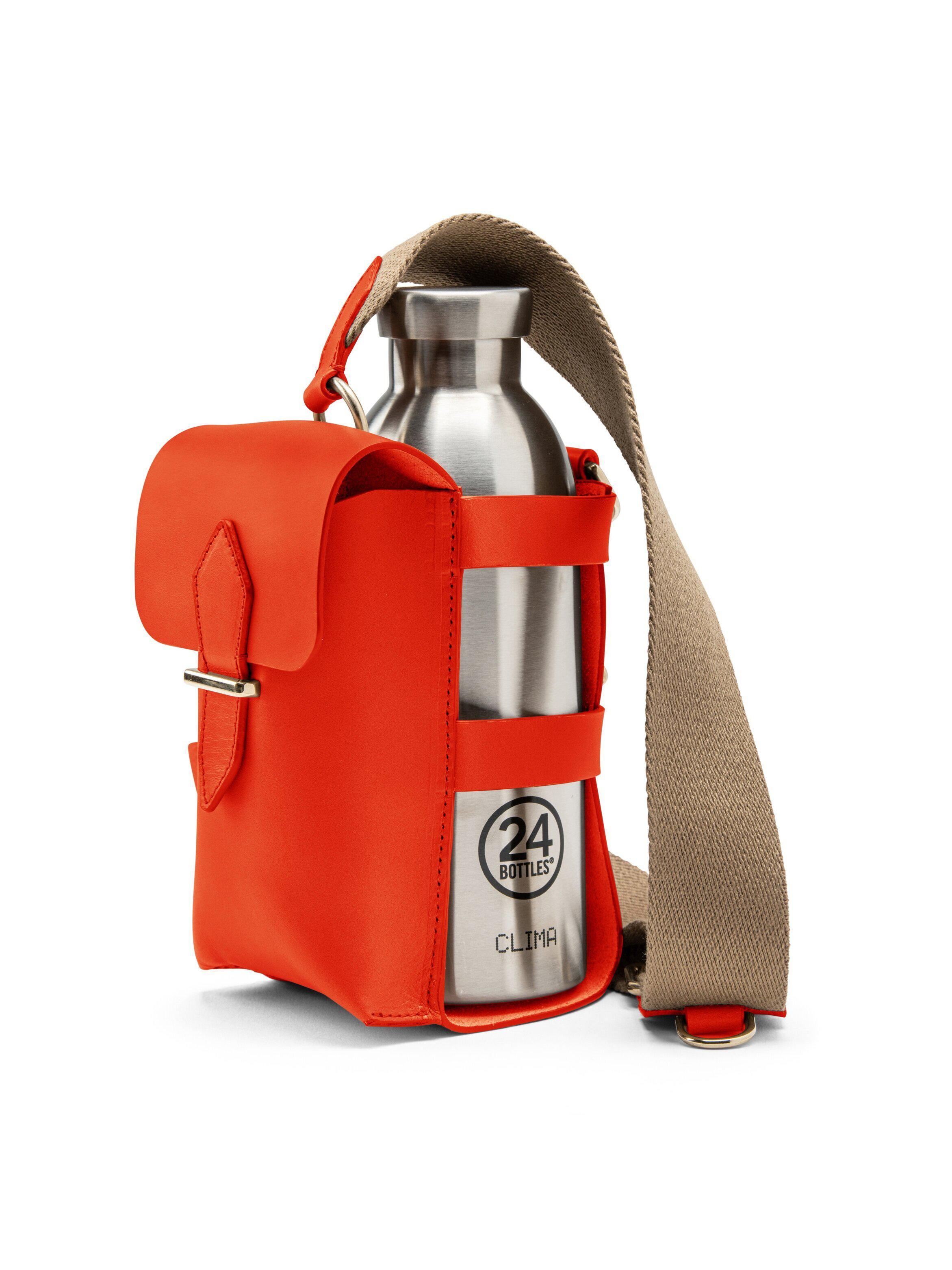 Bottle Bag with Pocket and Bottle - Fiamma Leather