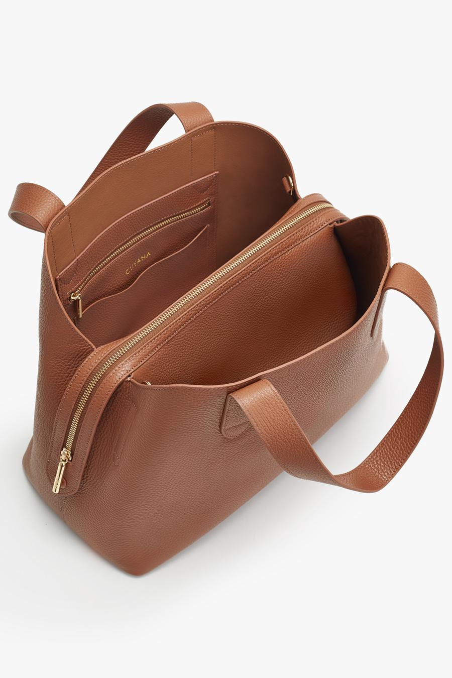 Women's Zippered Satchel Bag in Caramel | Pebbled Leather by Cuyana 1