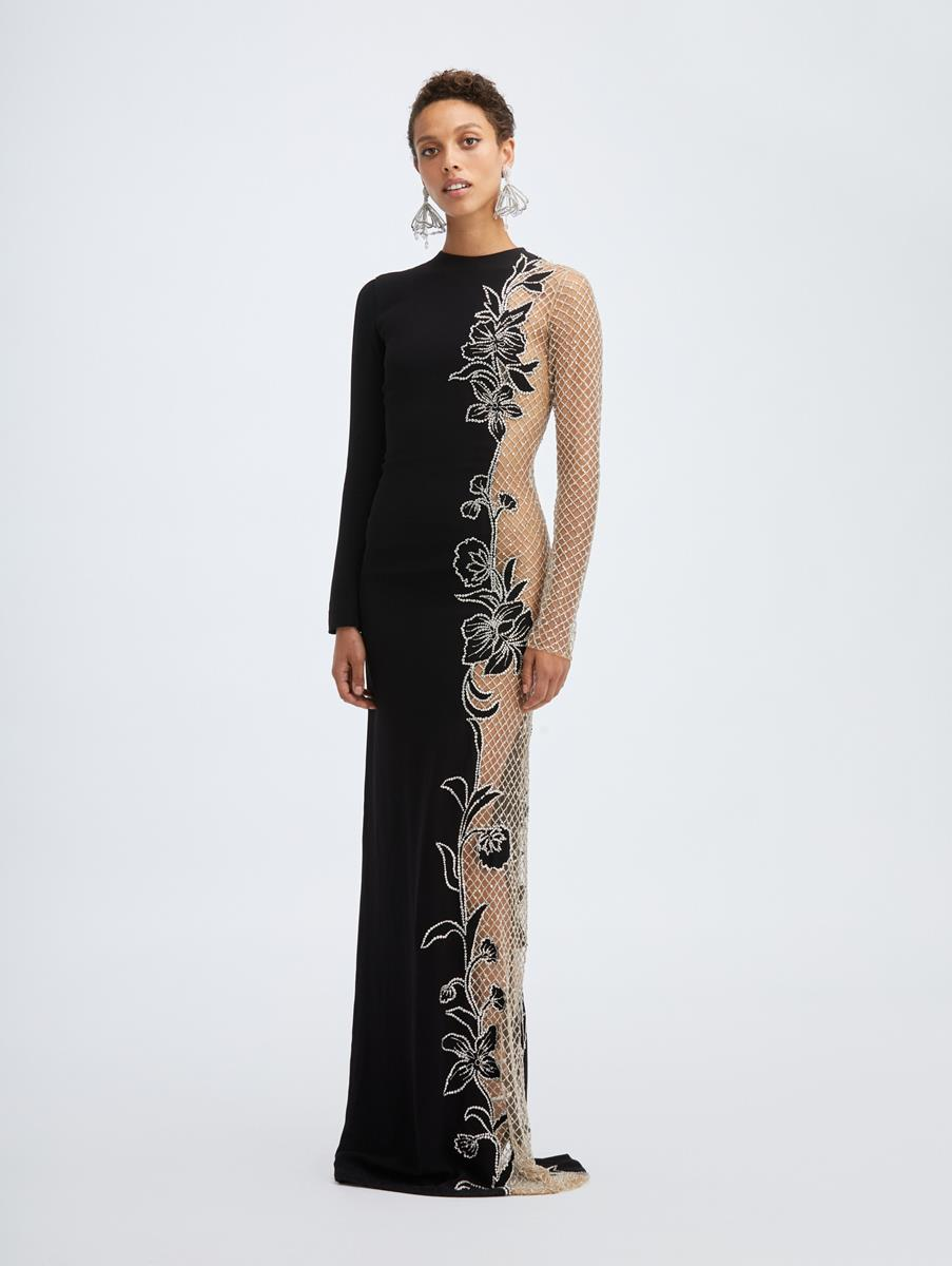 SIDE PANEL CRYSTAL EMBROIDERED GOWN