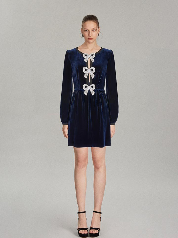 Camille Bows Mini Dress in Navy 1