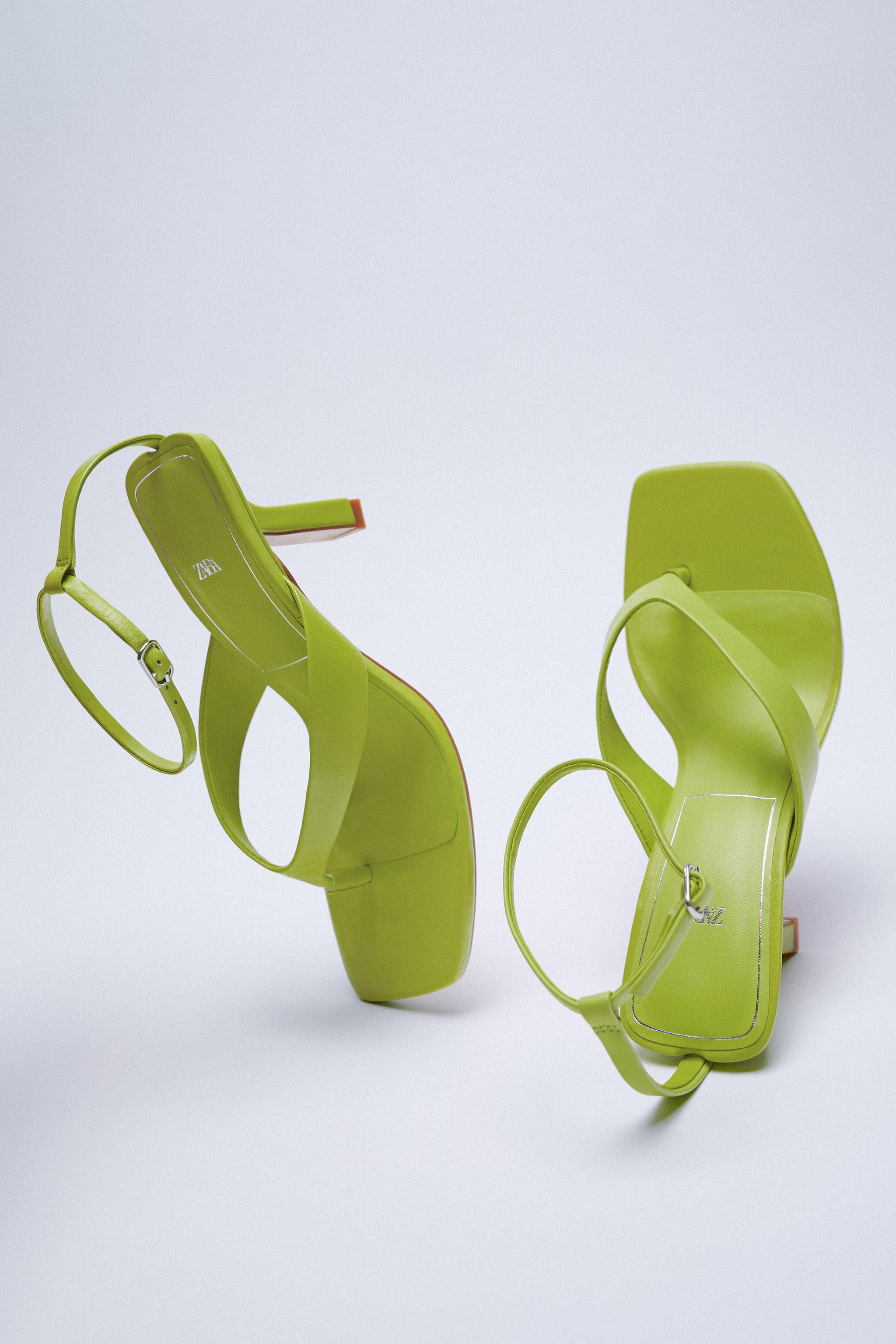 HEELED LEATHER SQUARE TOE SANDALS 6
