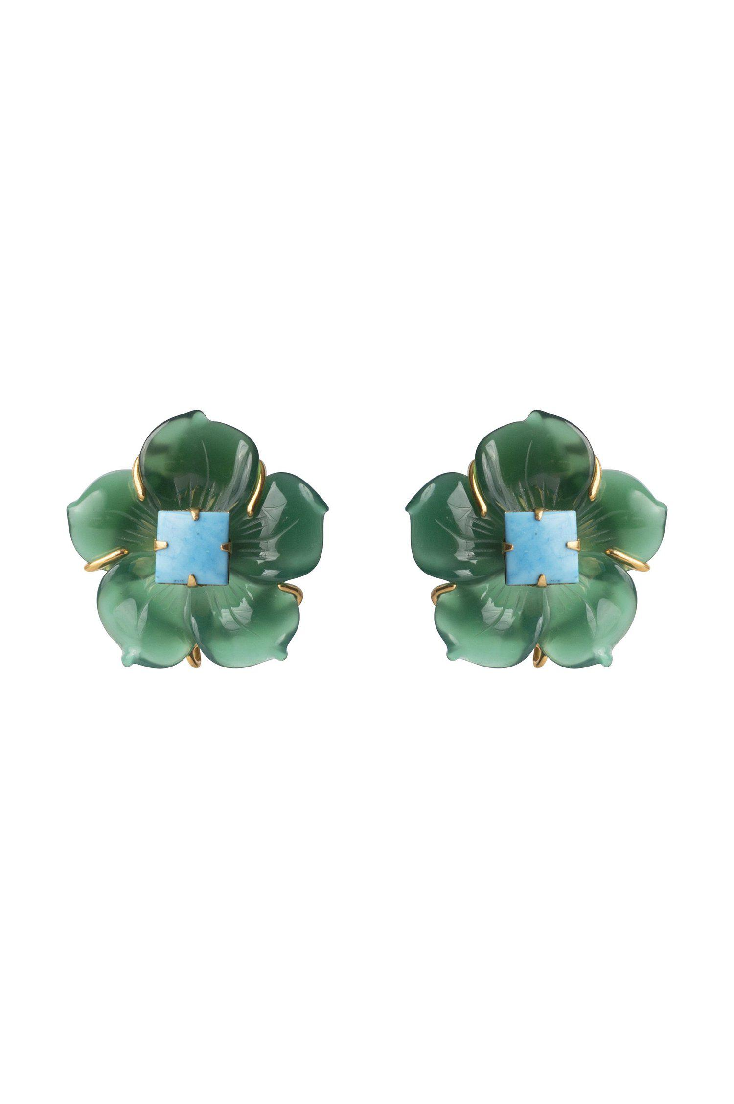Green Flower Stud with Turquoise Center