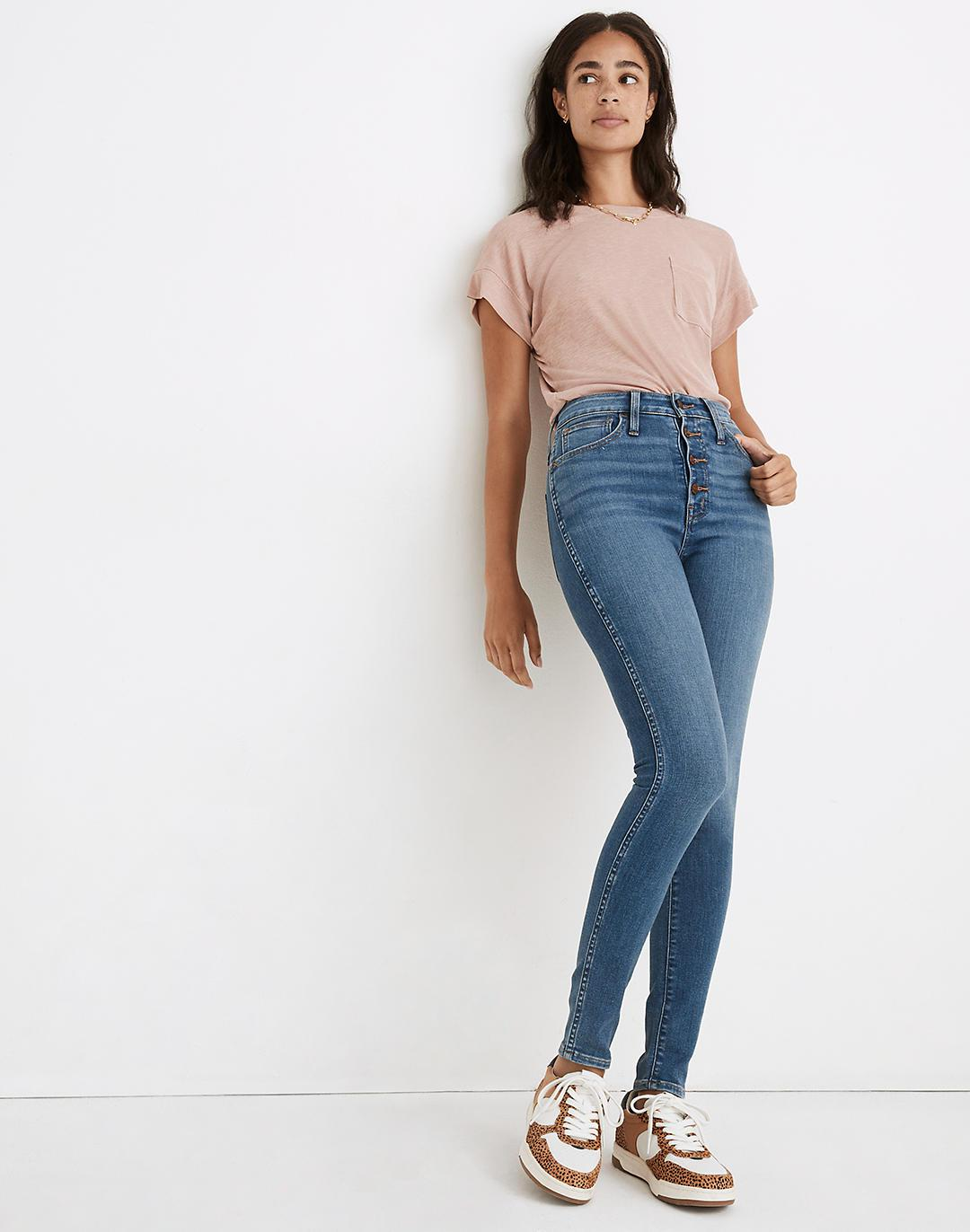 Petite Curvy Roadtripper Supersoft Skinny Jeans in Monroe Wash: Button-Front Edition