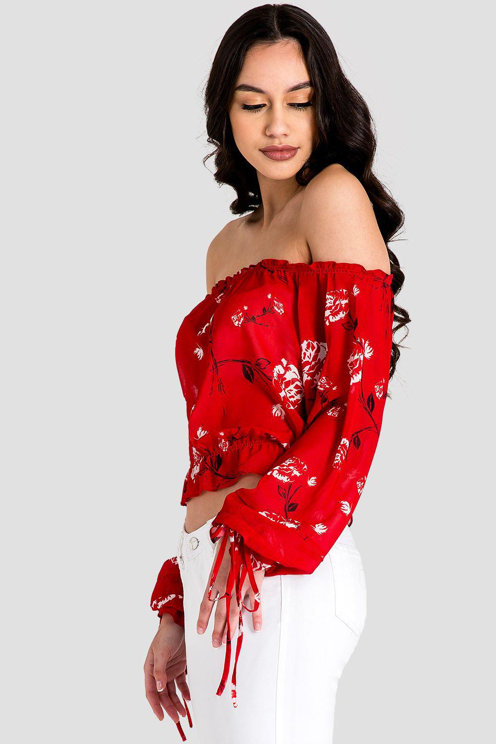Marina Off Shoulder Tie Sleeve Red Blouse 3