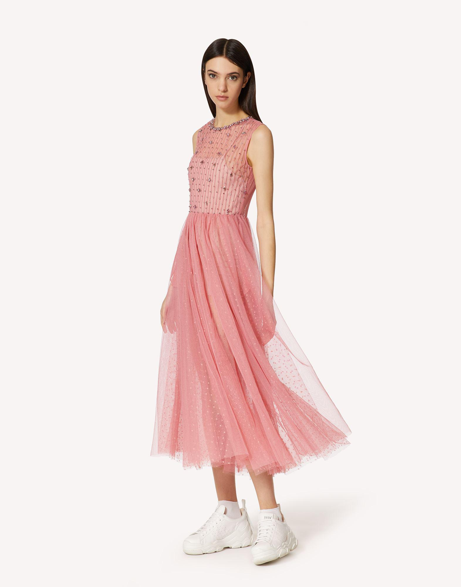 POINT D'ESPRIT TULLE DRESS WITH RHINESTONE EMBROIDERY 2