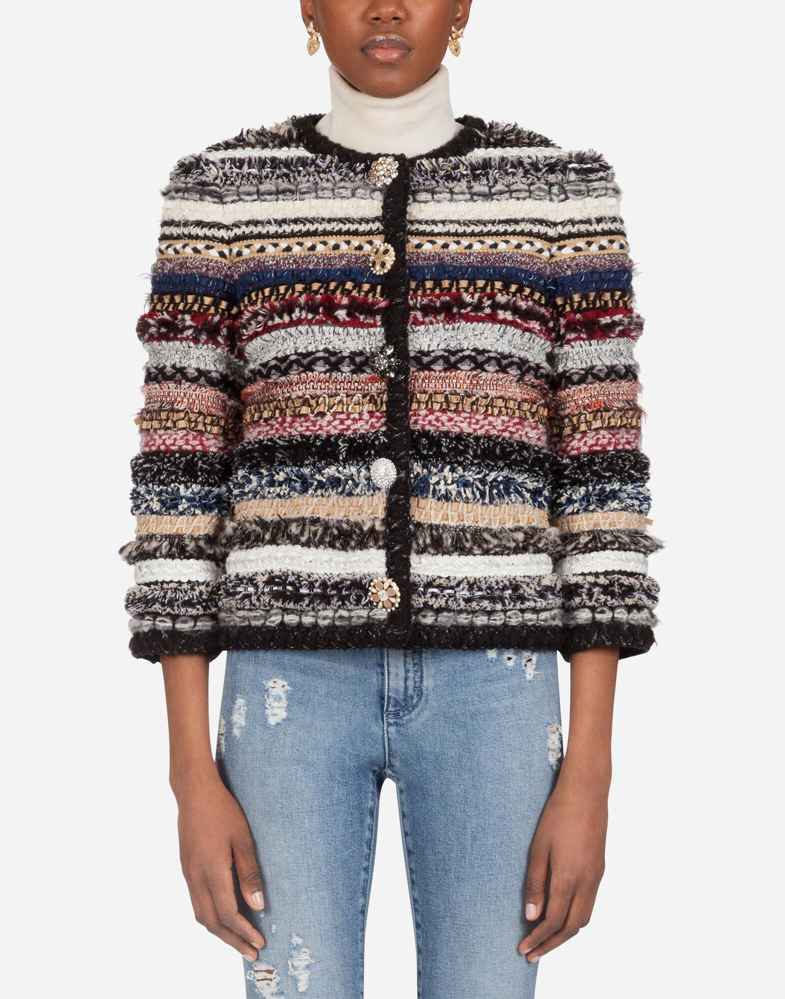 Short tweed Gabbana jacket with braiding and bejeweled buttons
