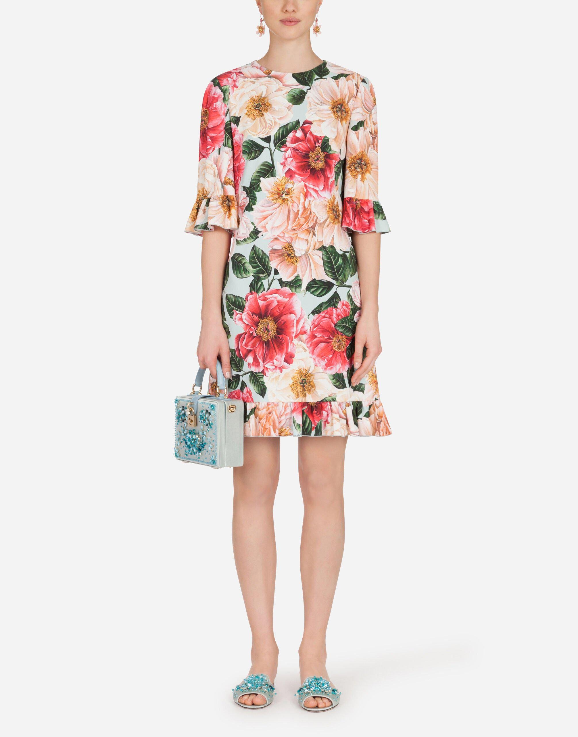 Short camellia-print cady dress with ruffle detailing