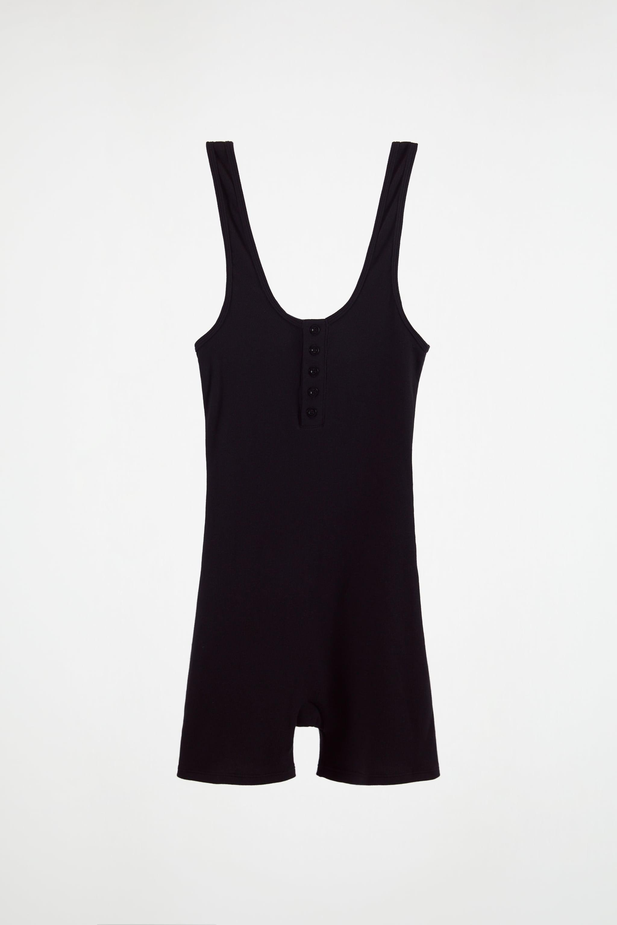 BUTTONED RIBBED JUMPSUIT