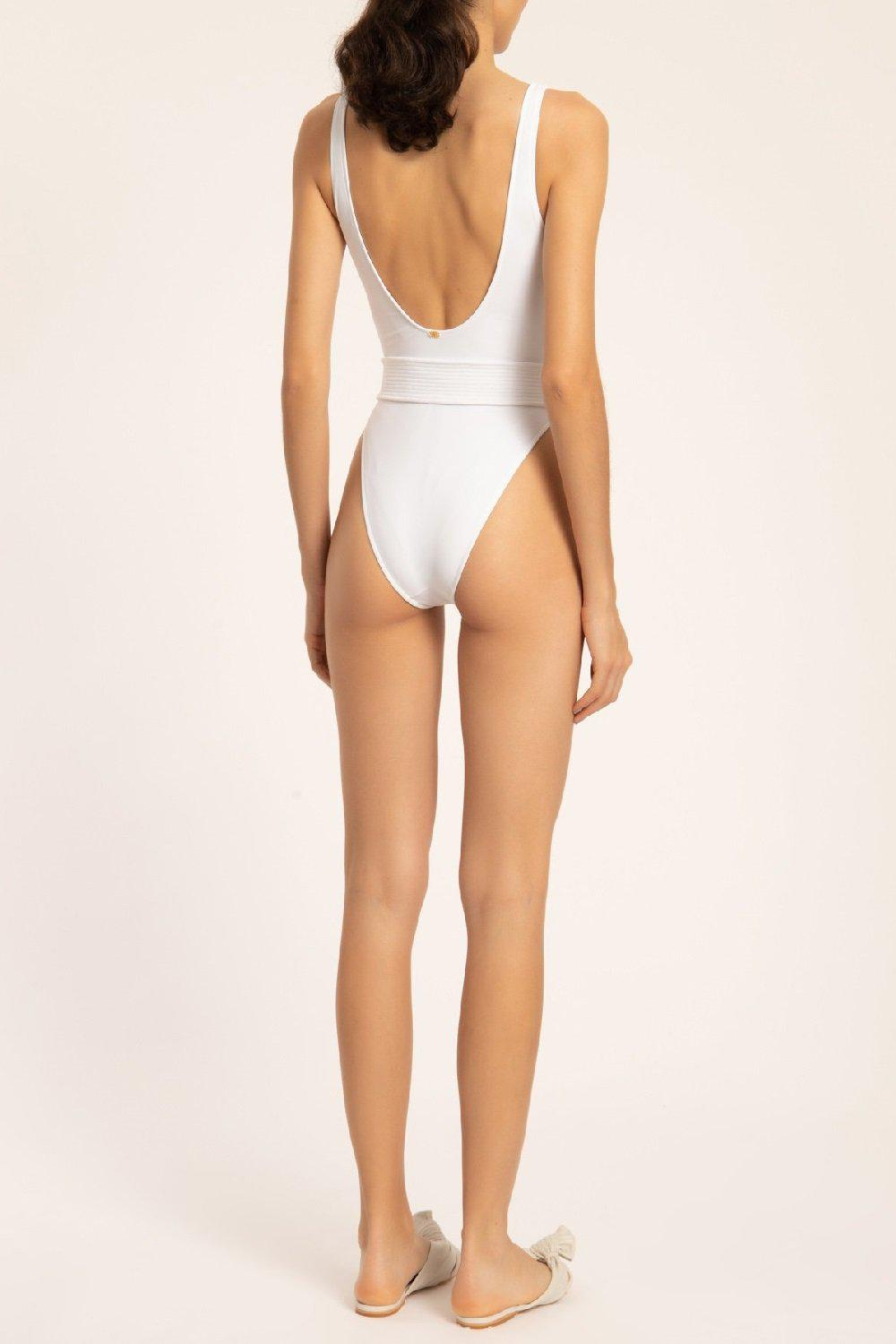 Solid High Leg Swimsuit With Belt 2