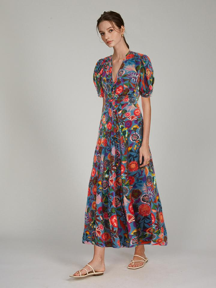 Lea Long Dress in Floral Adorning print