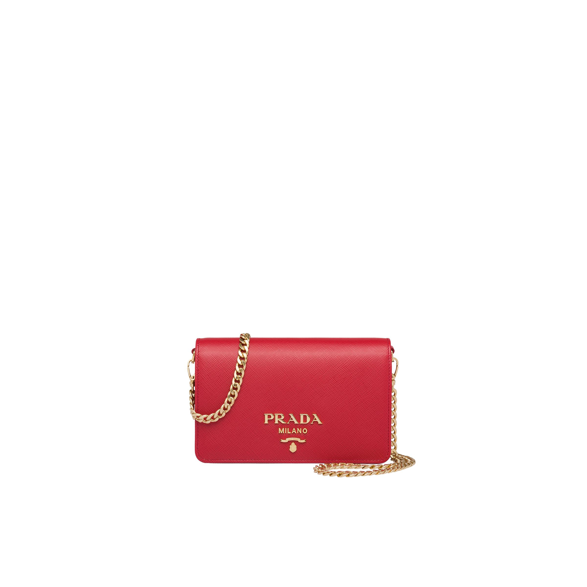 Saffiano Leather Shoulder Bag Women Fiery Red