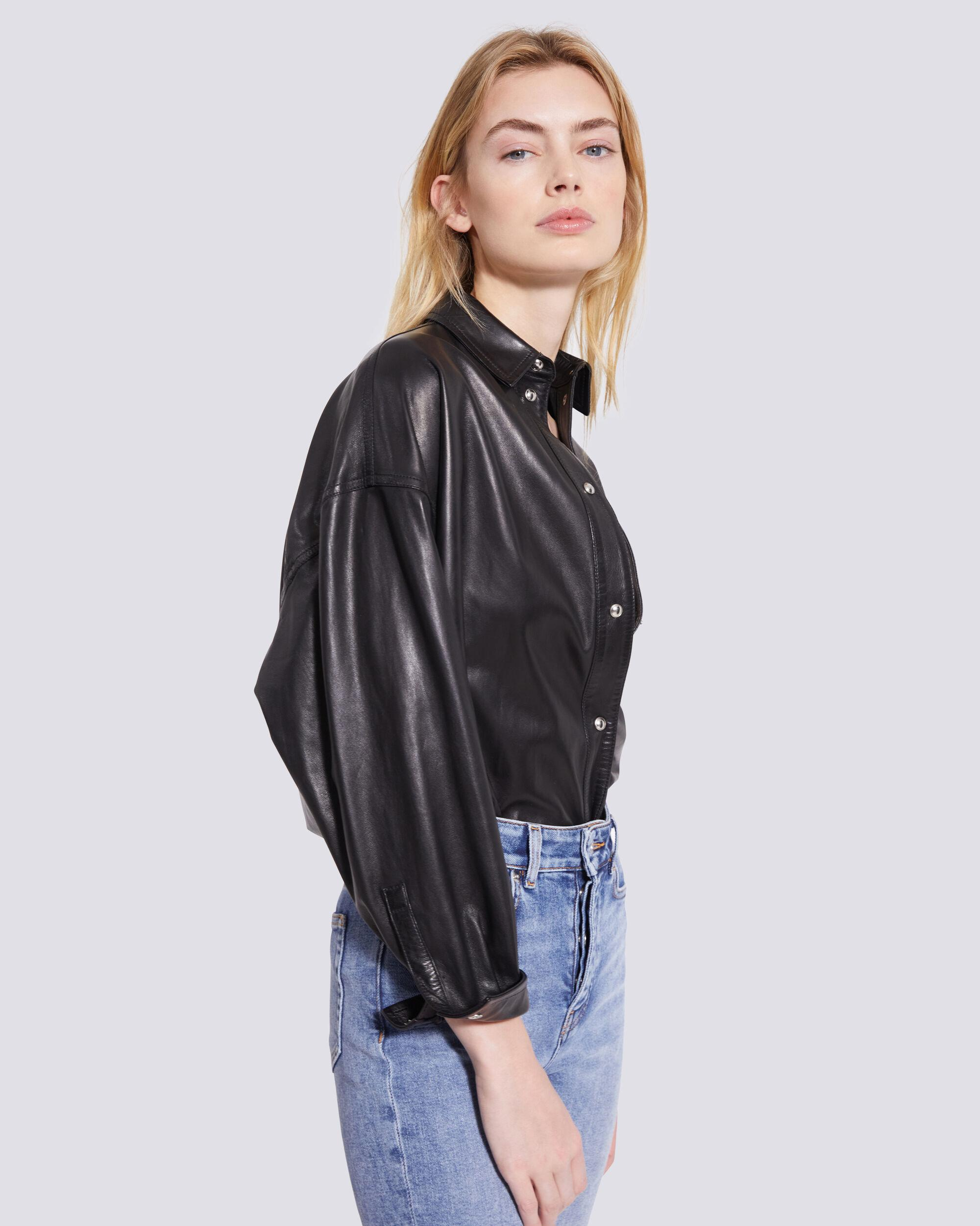 SYSTEM LEATHER BUTTON UP SHIRT 4