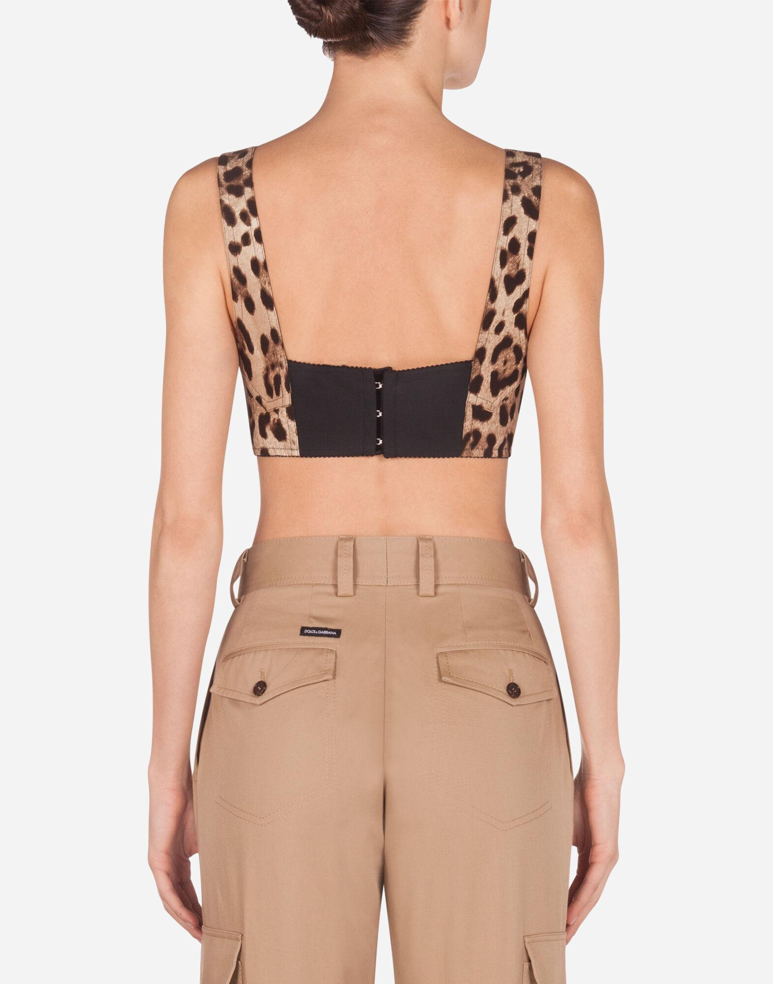 Short bustier top in charmeuse with leopard print 1