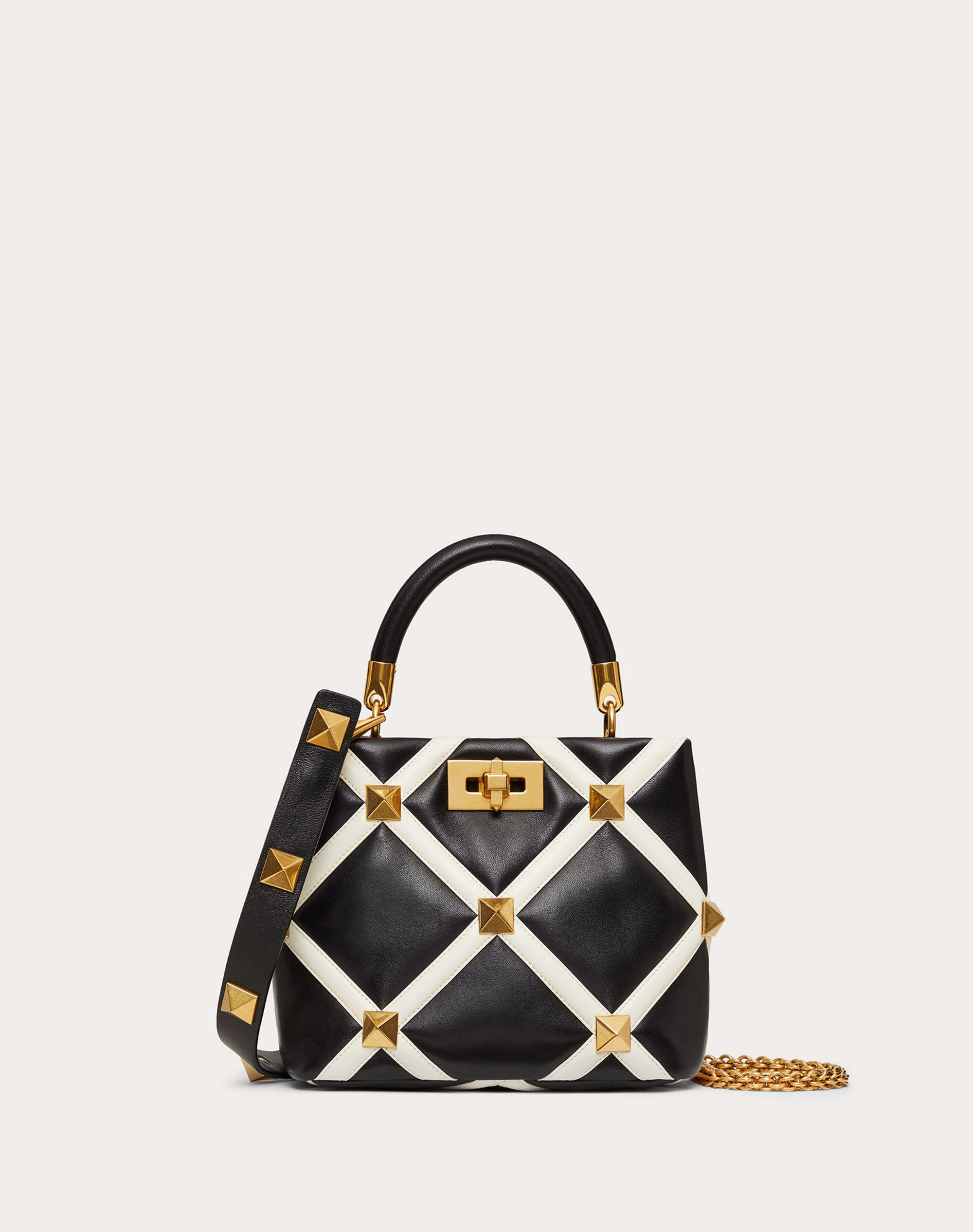 Small Roman Stud The Handle Bag in Nappa with Grid Detailing