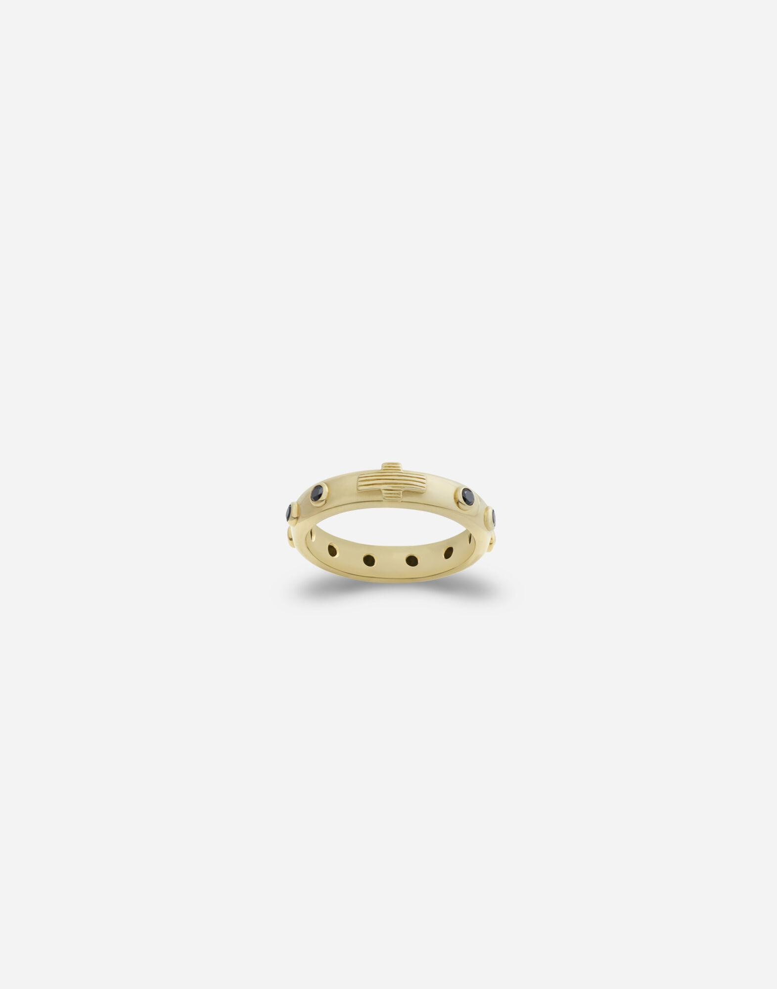Devotion band in yellow gold with black diamonds