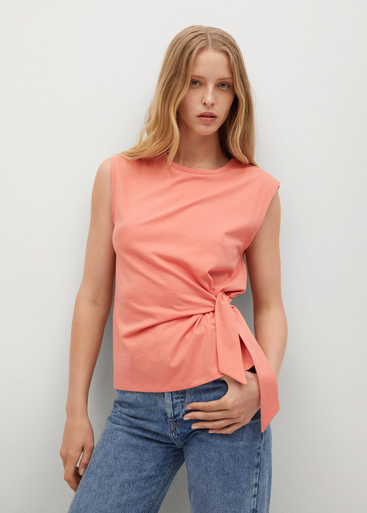 Recycled cotton t-shirt with knot