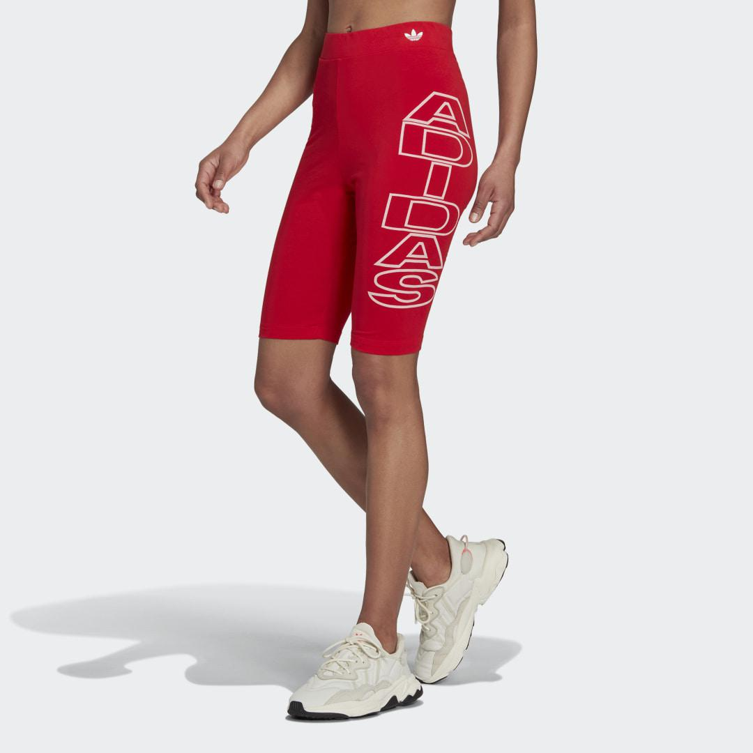 Mid-Waist Letter Short Tights Red